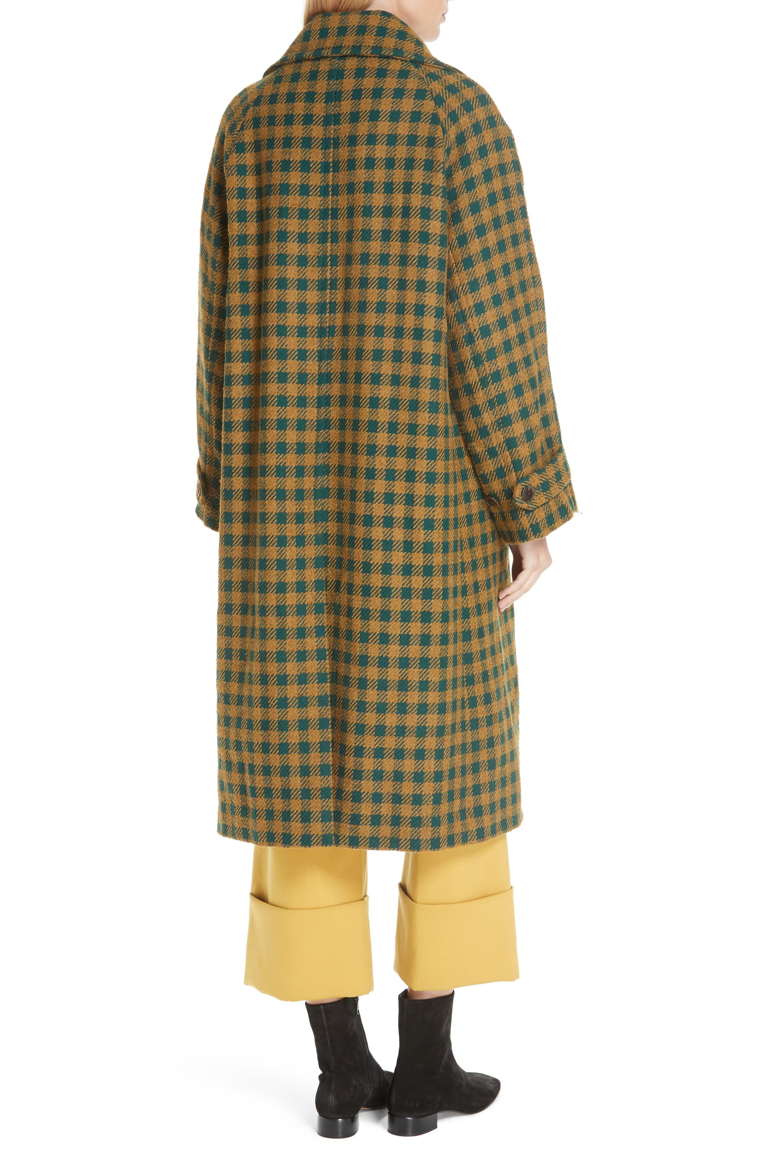 Ethno Pop Check Boyfriend Coat,                             Alternate thumbnail 2, color,                             GREEN CHECK