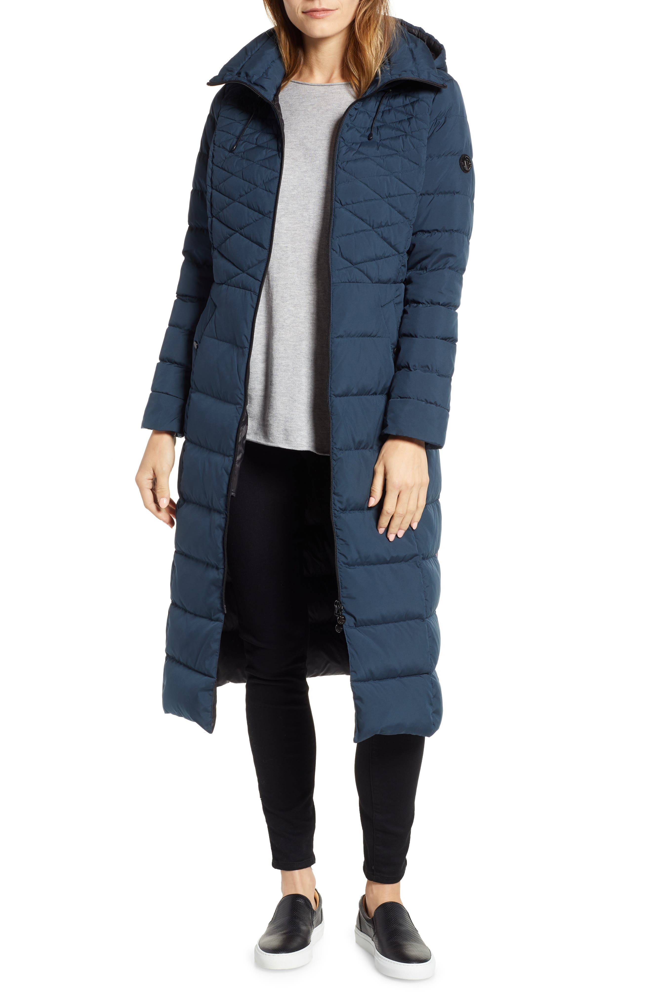 Quilted Long Coat with Down & PrimaLoft<sup>®</sup> Fill,                         Main,                         color, DEEP WATER