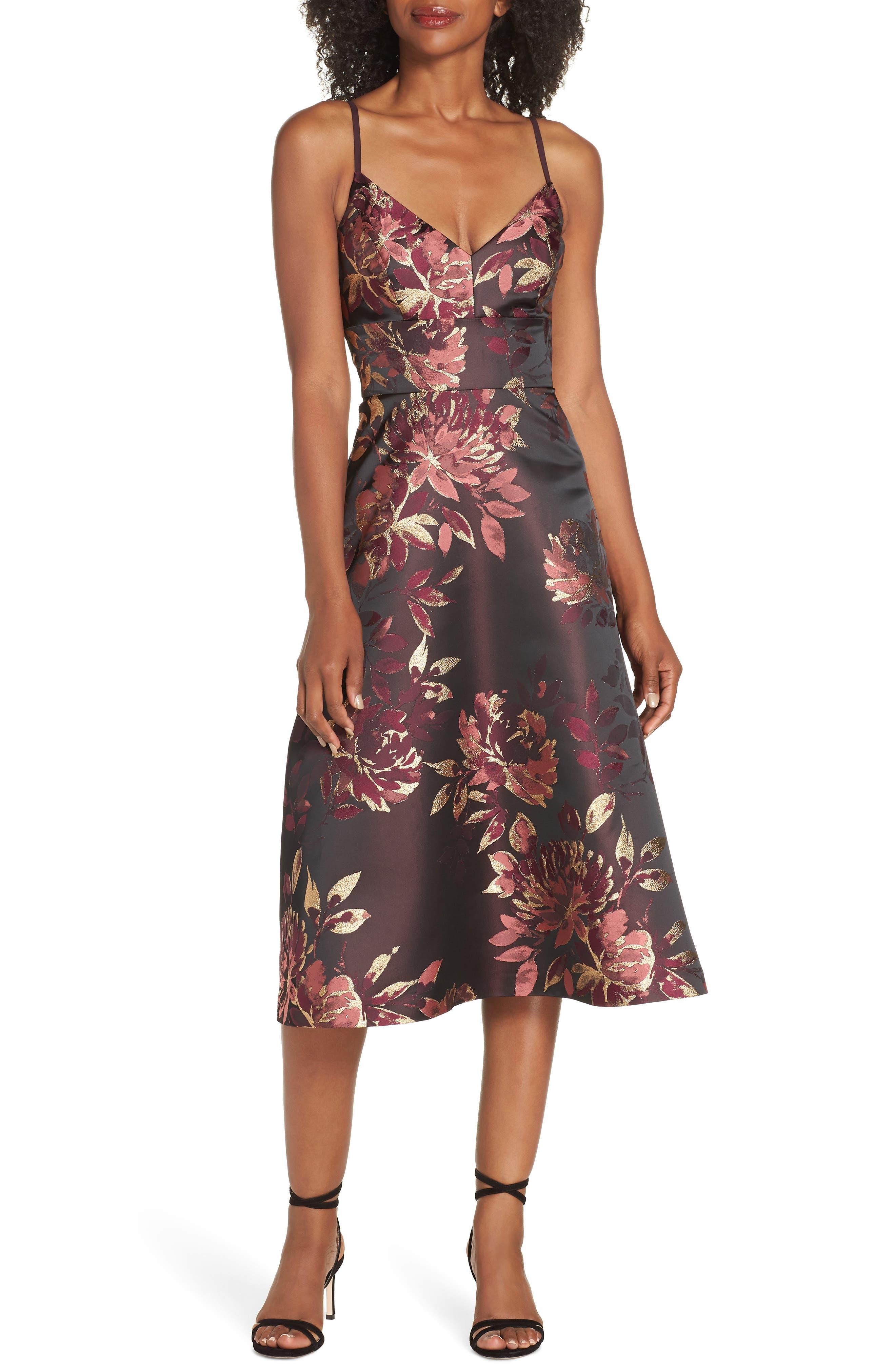 Eliza J Floral Midi Dress, Burgundy