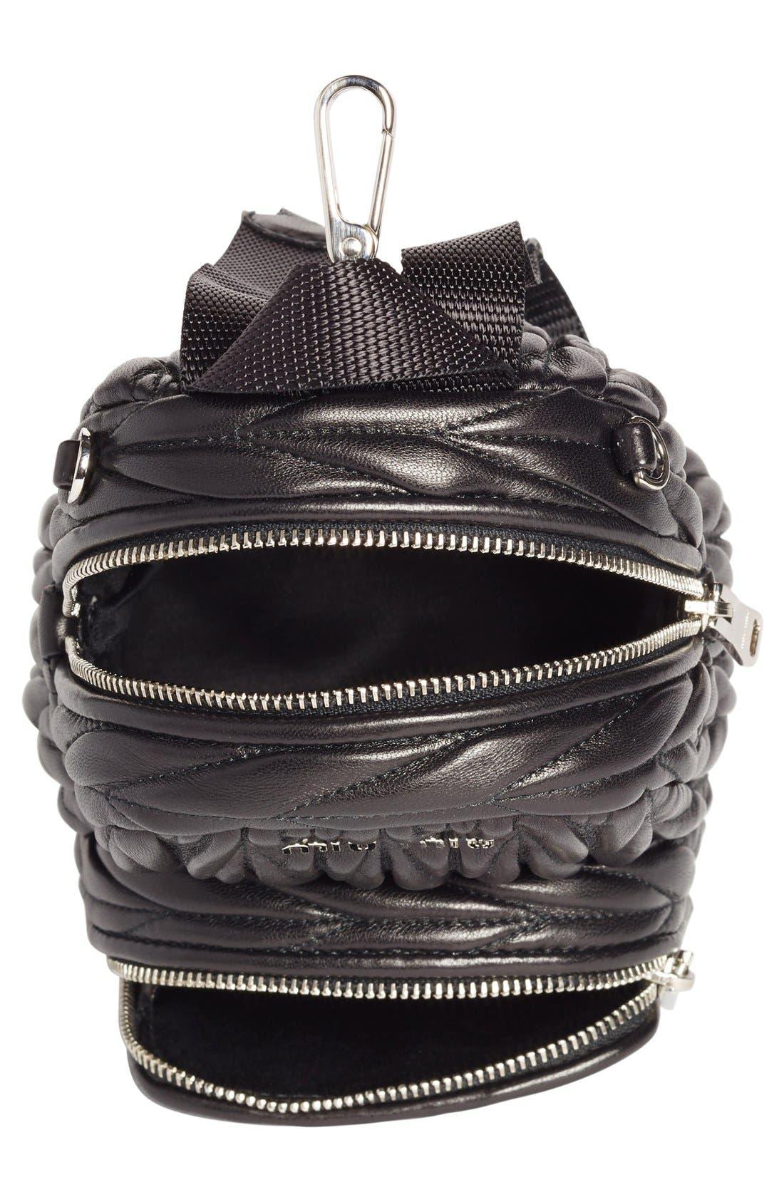 Micro Matelassé Leather Backpack,                             Alternate thumbnail 4, color,                             001