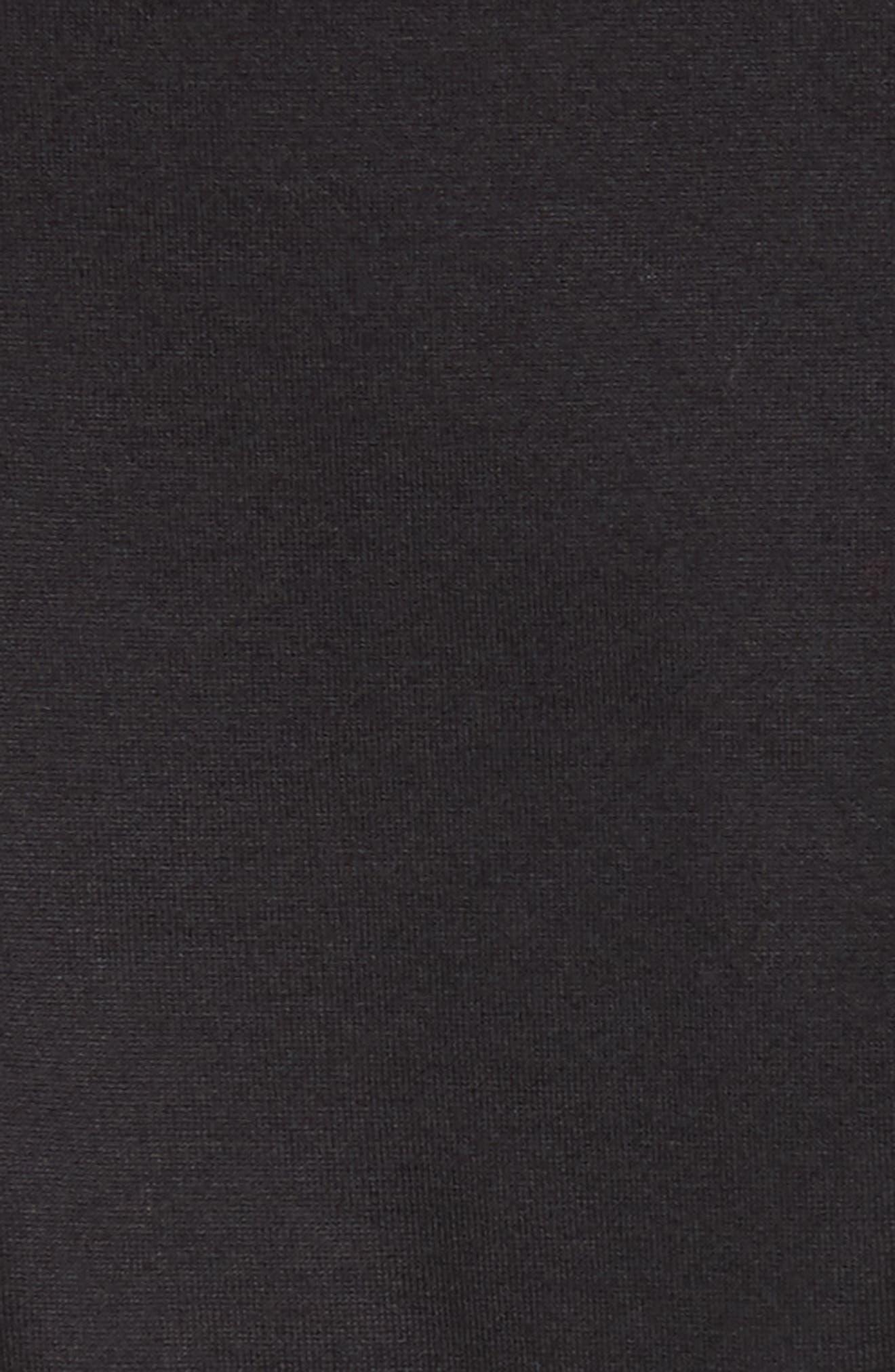 Abito Shirred Midi Dress,                             Alternate thumbnail 6, color,                             BLACK