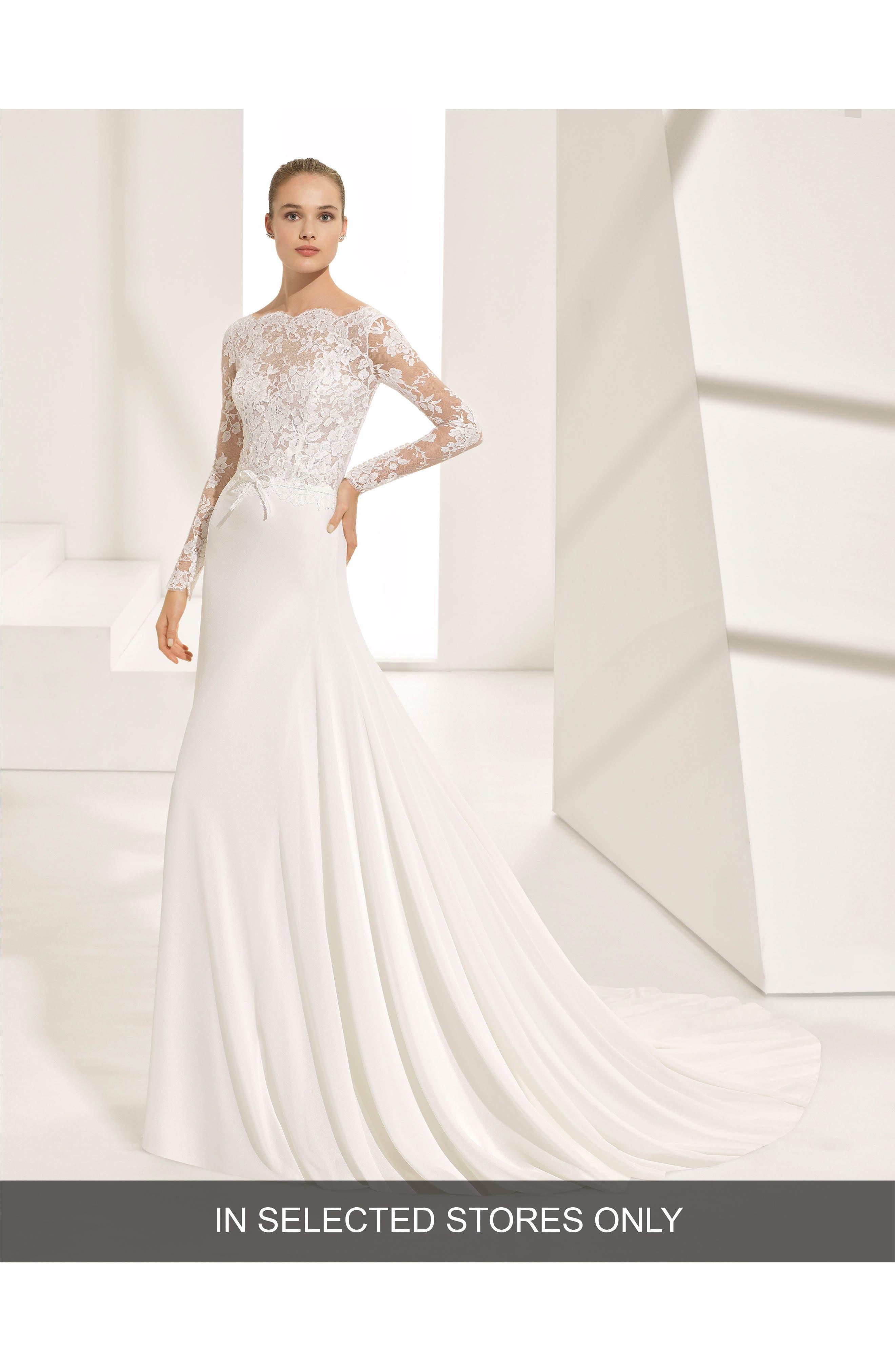Rosa Clará Couture Pascal Lace & Crepe A-Line Gown,                         Main,                         color, NATURAL