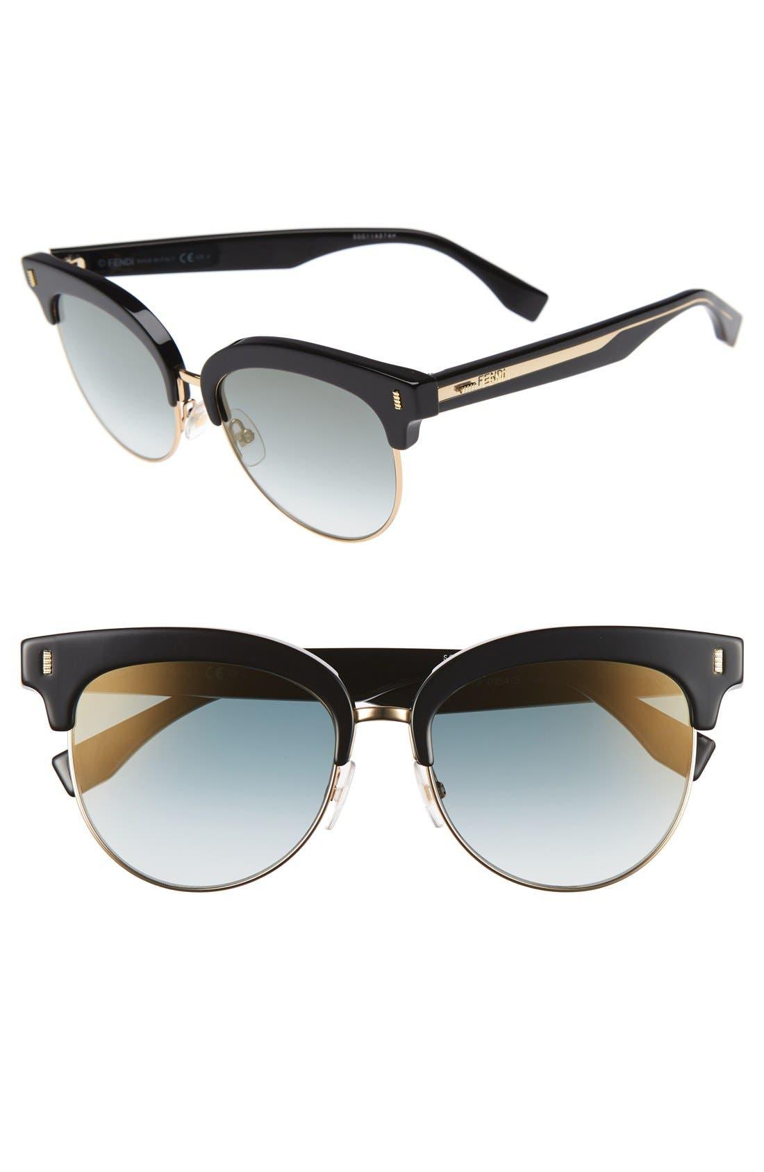 54mm Sunglasses,                         Main,                         color, BLACK