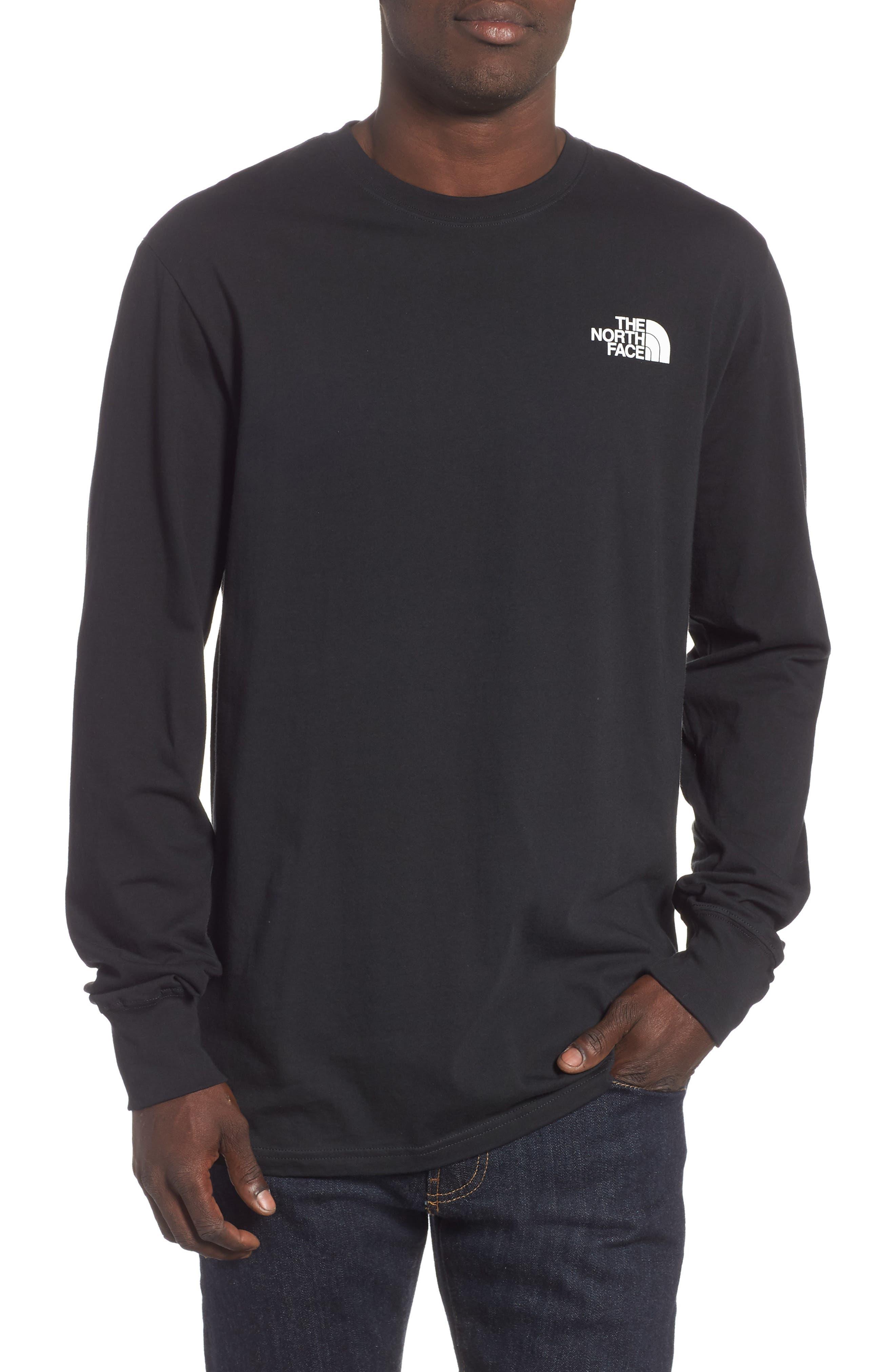 Red Box Long Sleeve T-Shirt,                         Main,                         color, TNF BLACK/ TNF WHITE