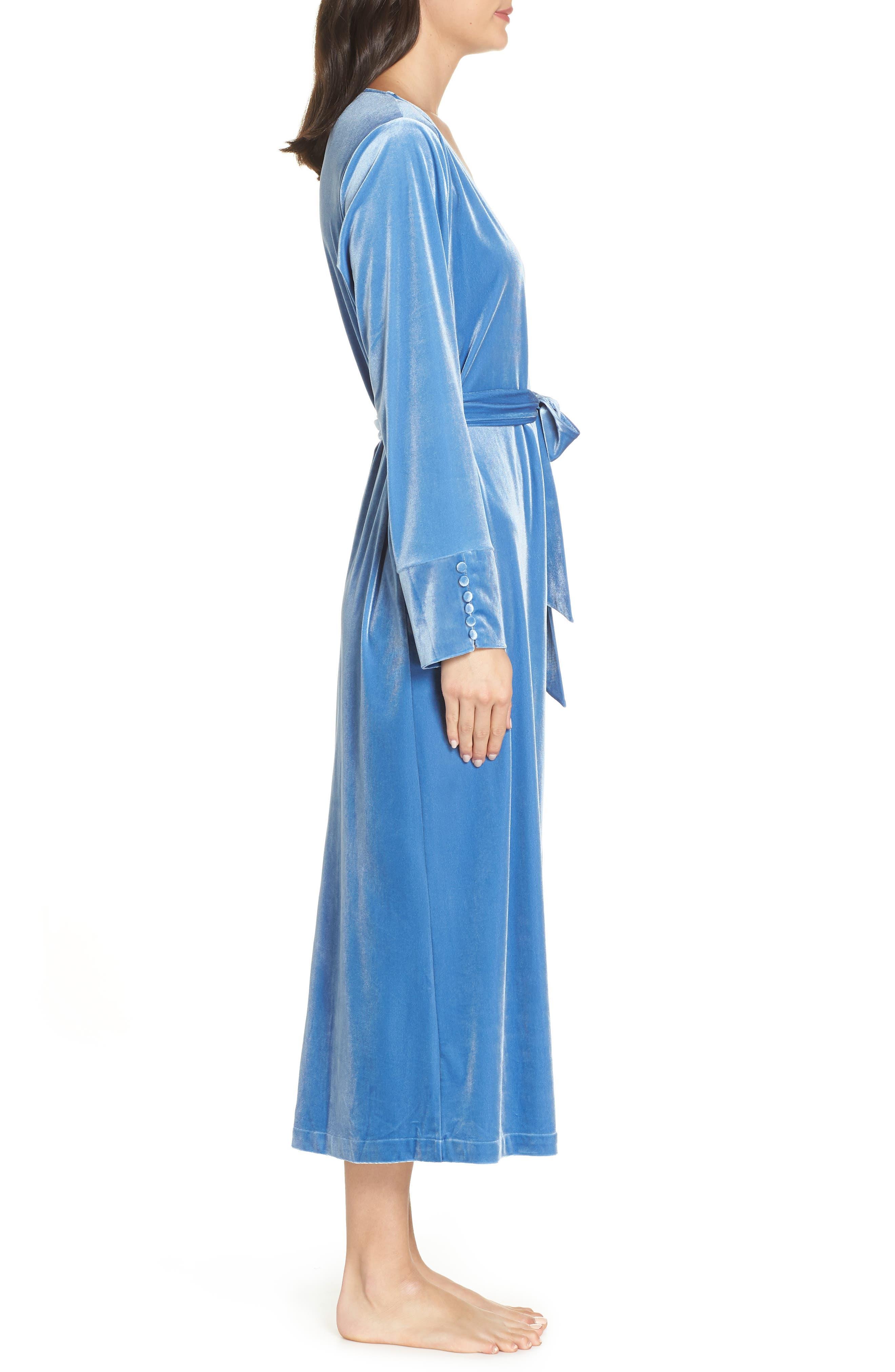 Dream Away Velour Robe,                             Alternate thumbnail 3, color,                             BLUE DELFT