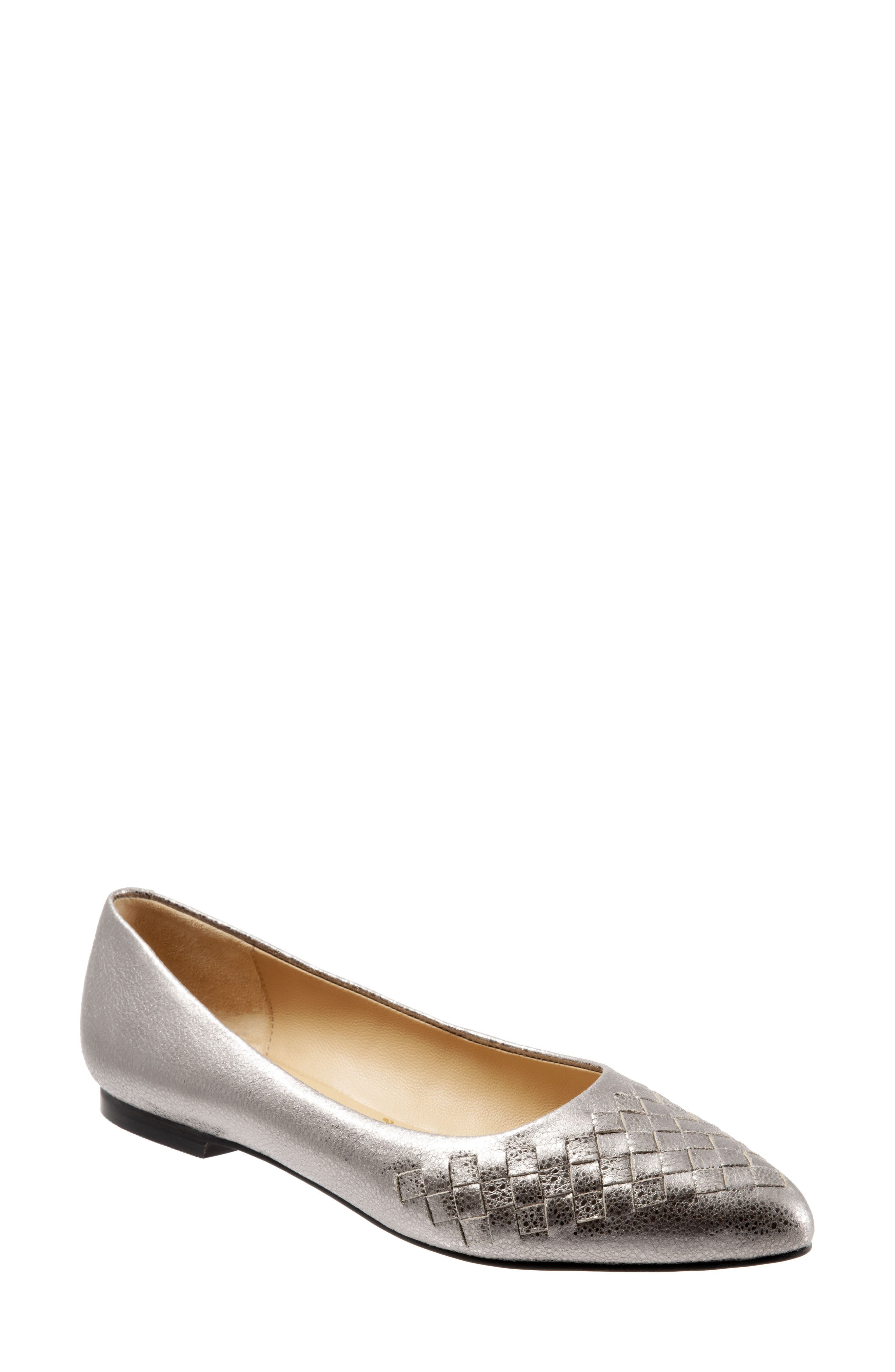 Estee Pointed Toe Flat,                             Main thumbnail 1, color,                             SILVER LEATHER
