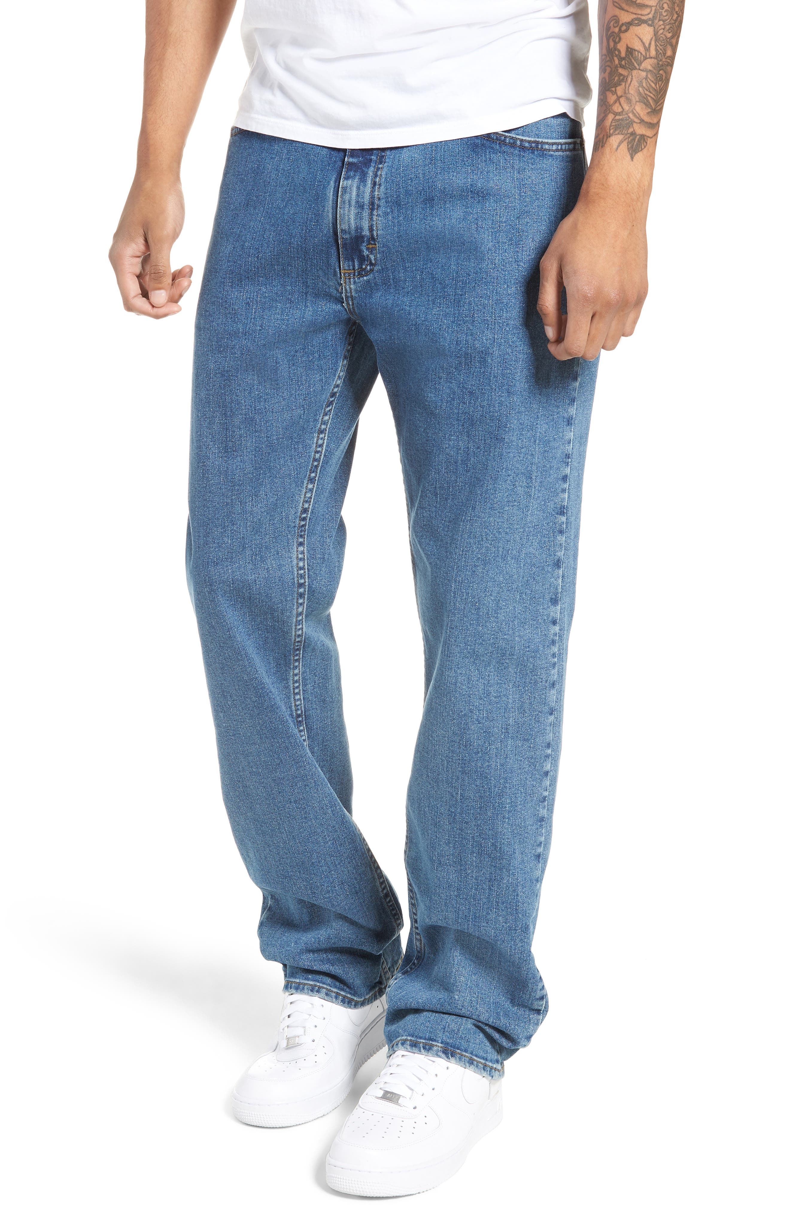V96 Relaxed Fit Jeans,                         Main,                         color, STONE WASH