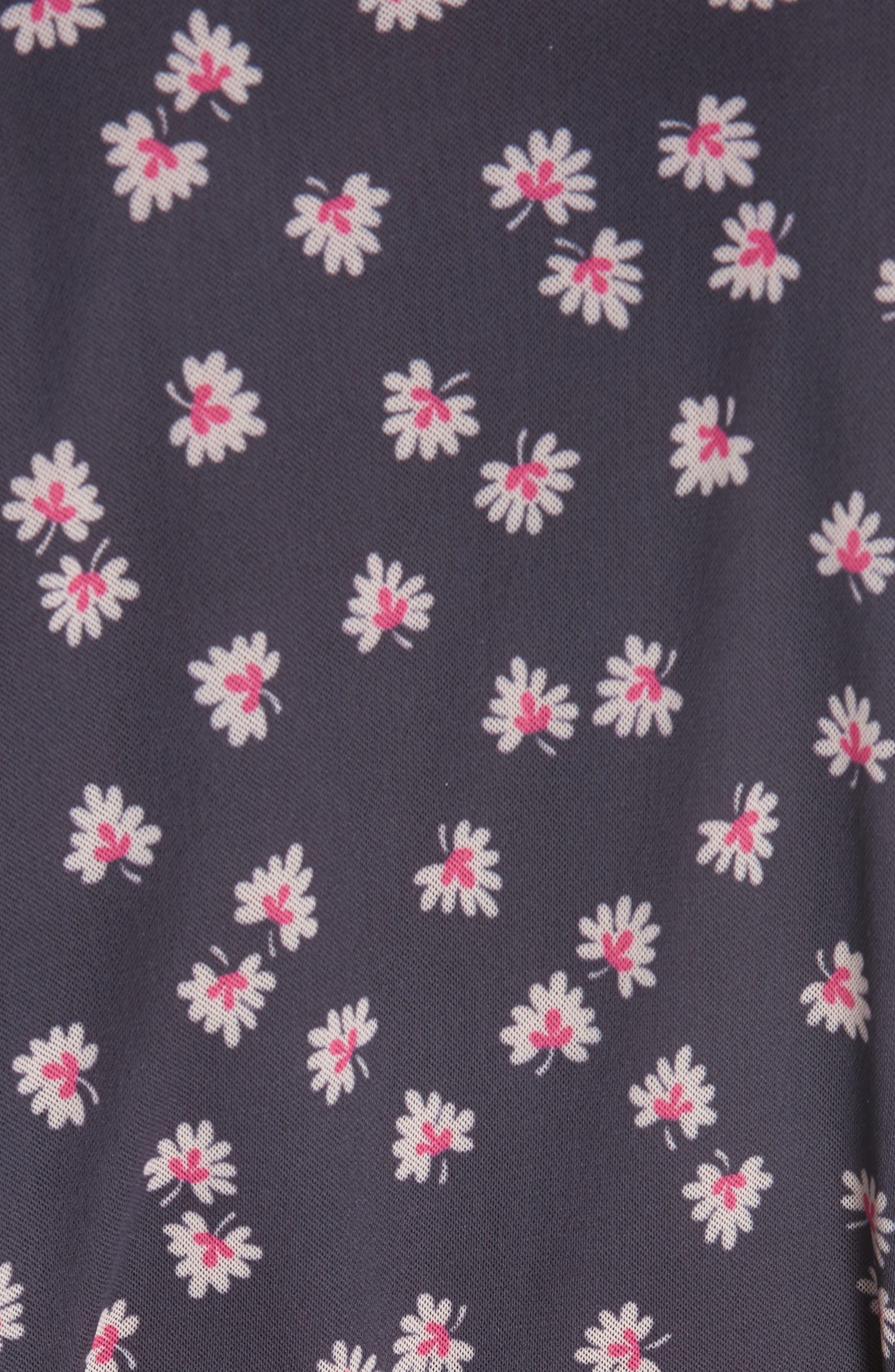 GANNI,                             Floral Print Wrap Dress,                             Alternate thumbnail 5, color,                             400