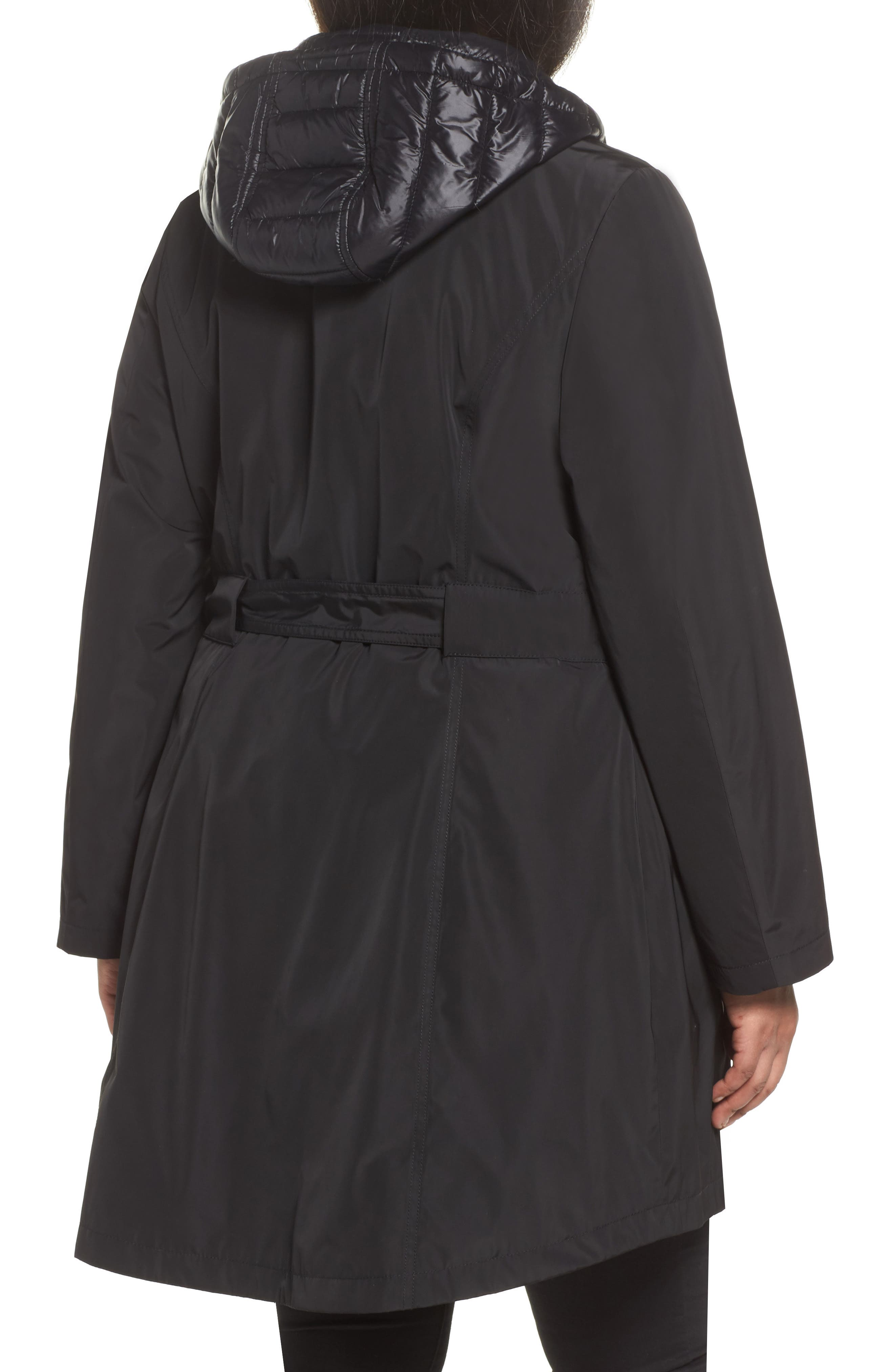 Water Resistant Hooded Coat with Puffer Bib Inset,                             Alternate thumbnail 2, color,                             001