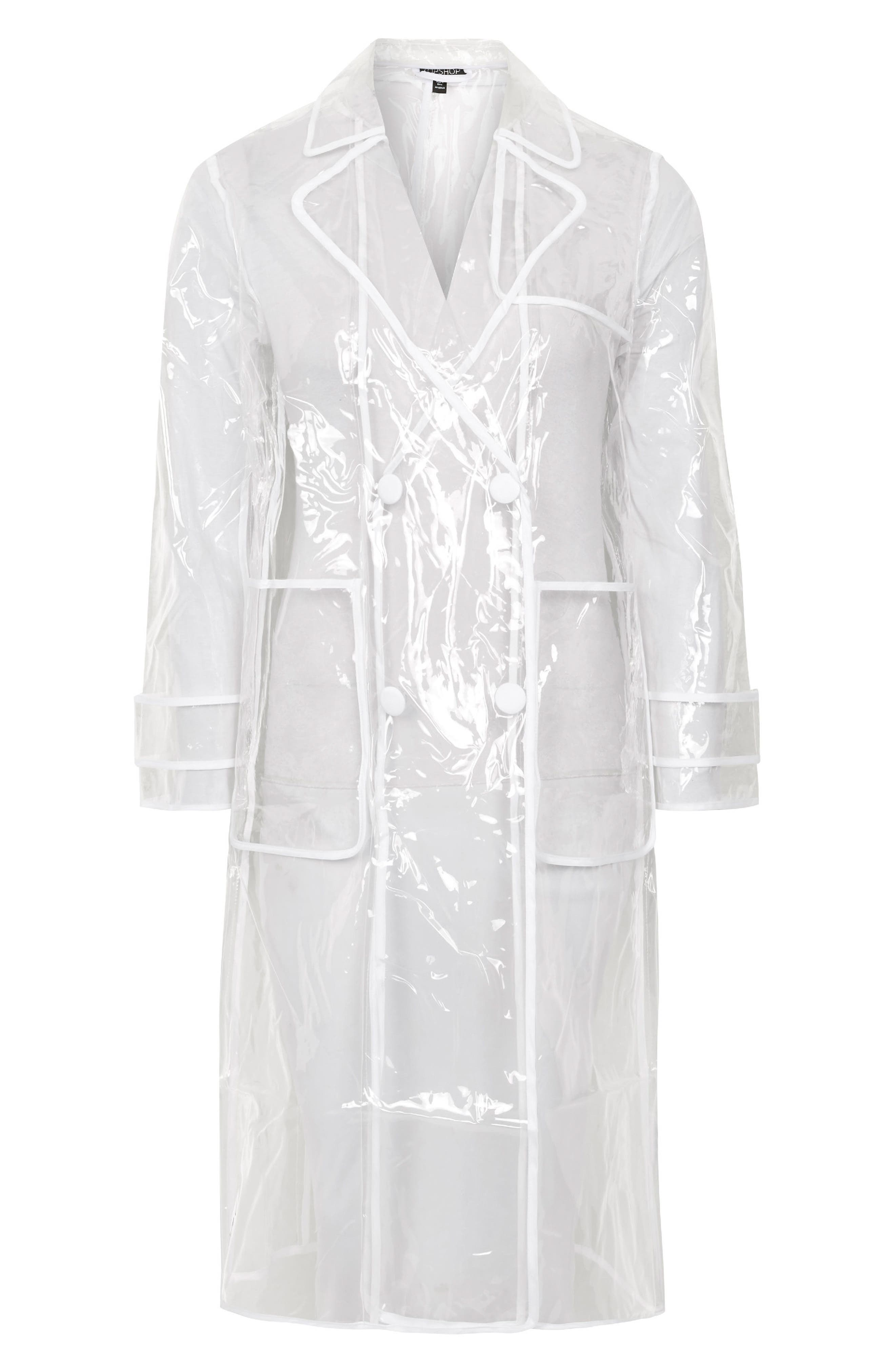 TOPSHOP,                             Clear Vinyl Trench Coat,                             Alternate thumbnail 4, color,                             000