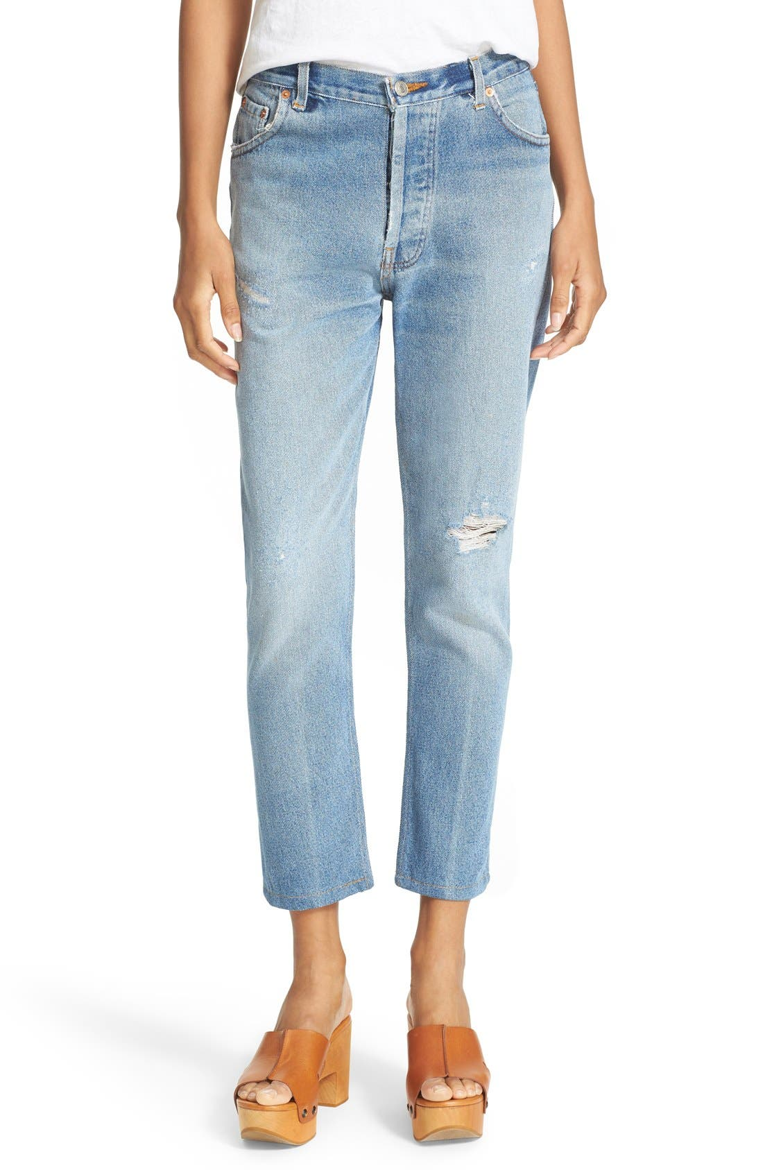 RE/DONE,                             Reconstructed High Waist Ankle Crop Jeans,                             Alternate thumbnail 3, color,                             400