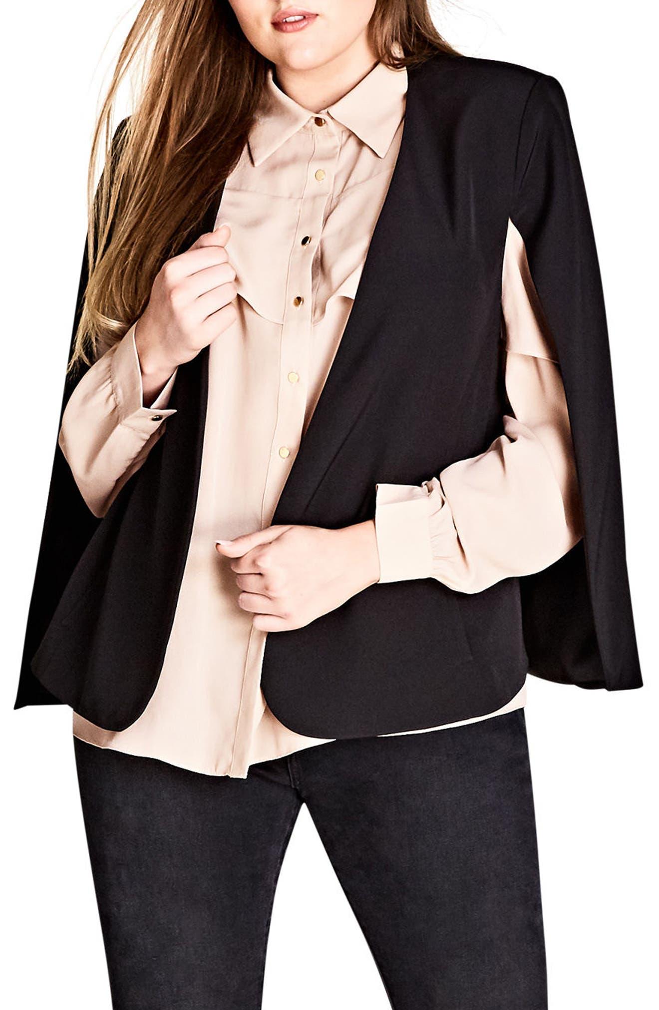 Jacket Sharp Cape,                             Main thumbnail 1, color,                             BLACK