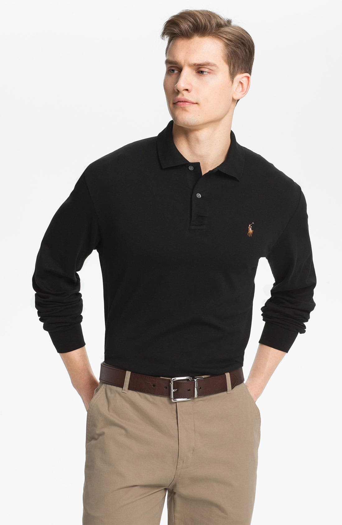 Classic Fit Long Sleeve Polo,                             Main thumbnail 1, color,                             001