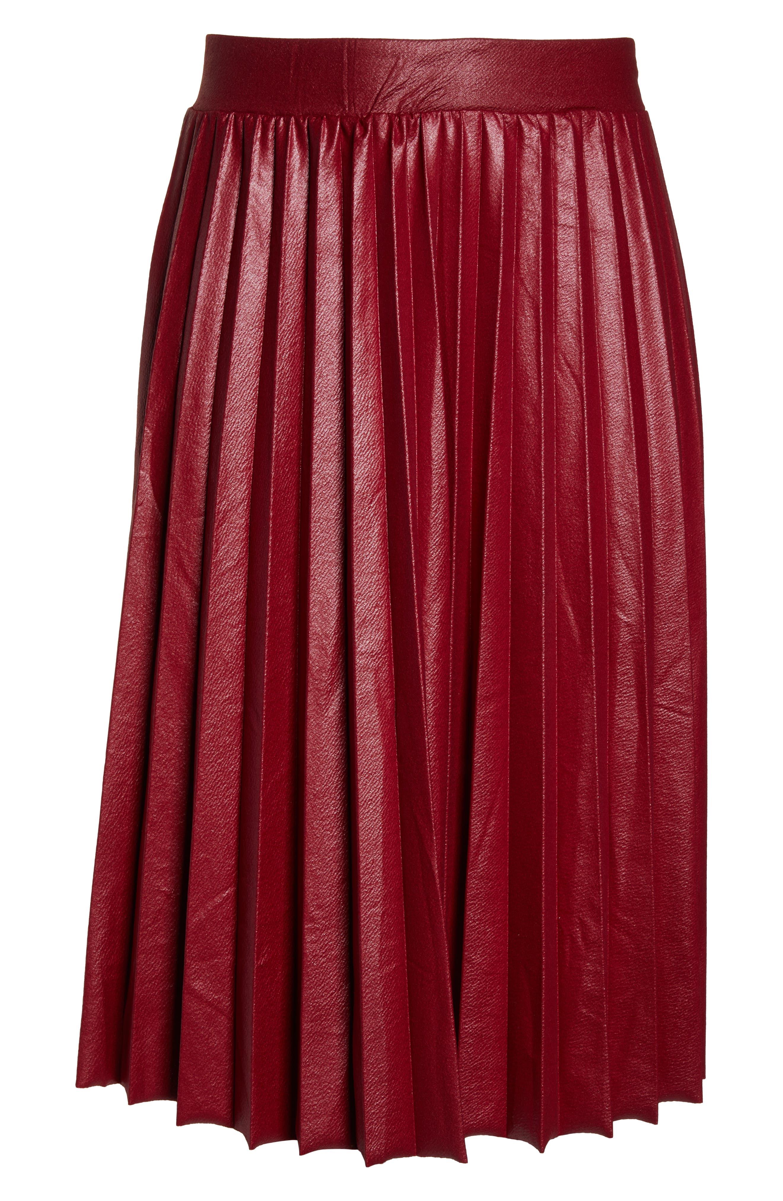 Coated Pleated Midi Skirt,                             Alternate thumbnail 6, color,                             OXBLOOD