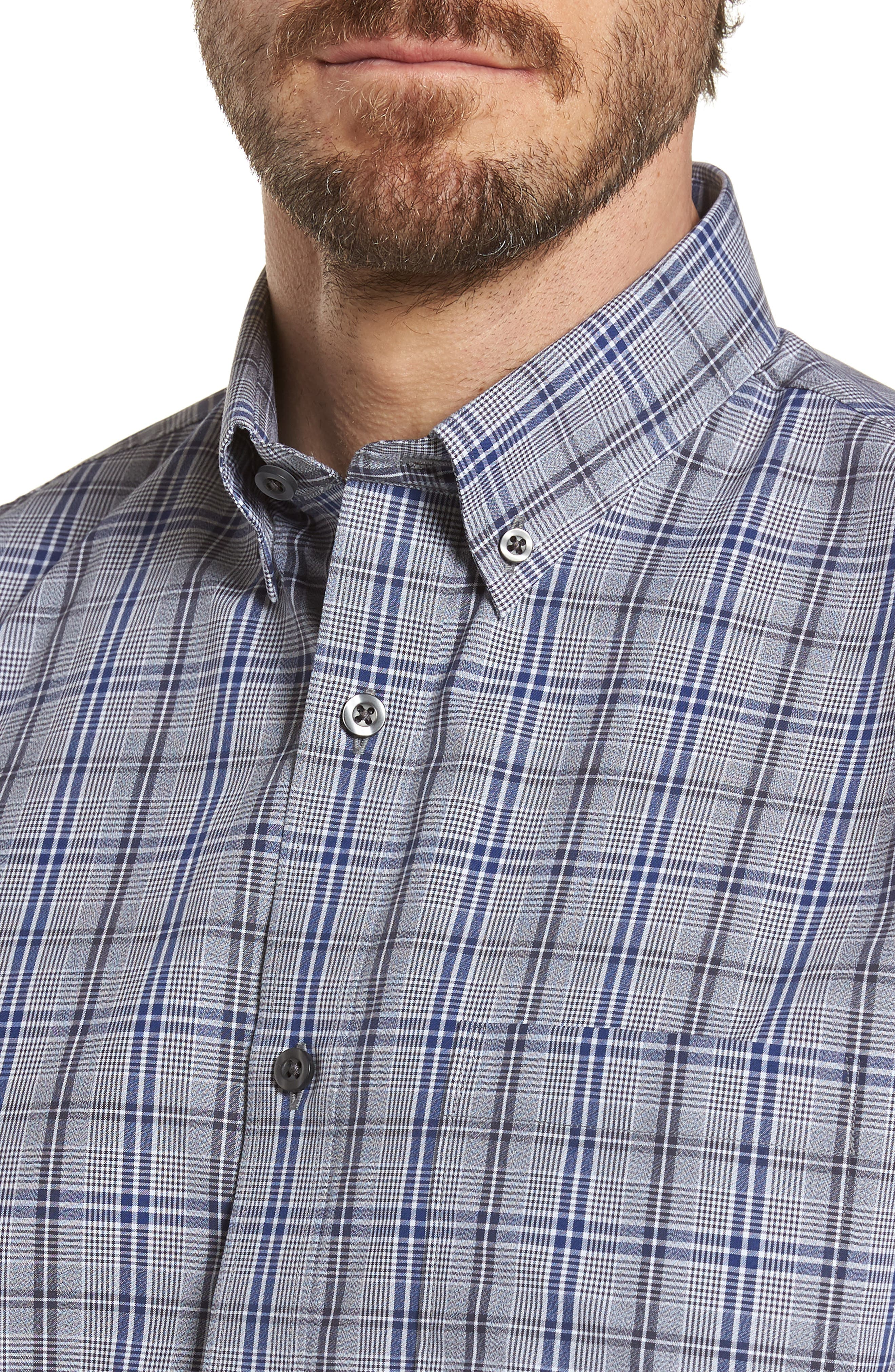 Trim Fit Non-Iron Check Sport Shirt,                             Alternate thumbnail 4, color,                             030