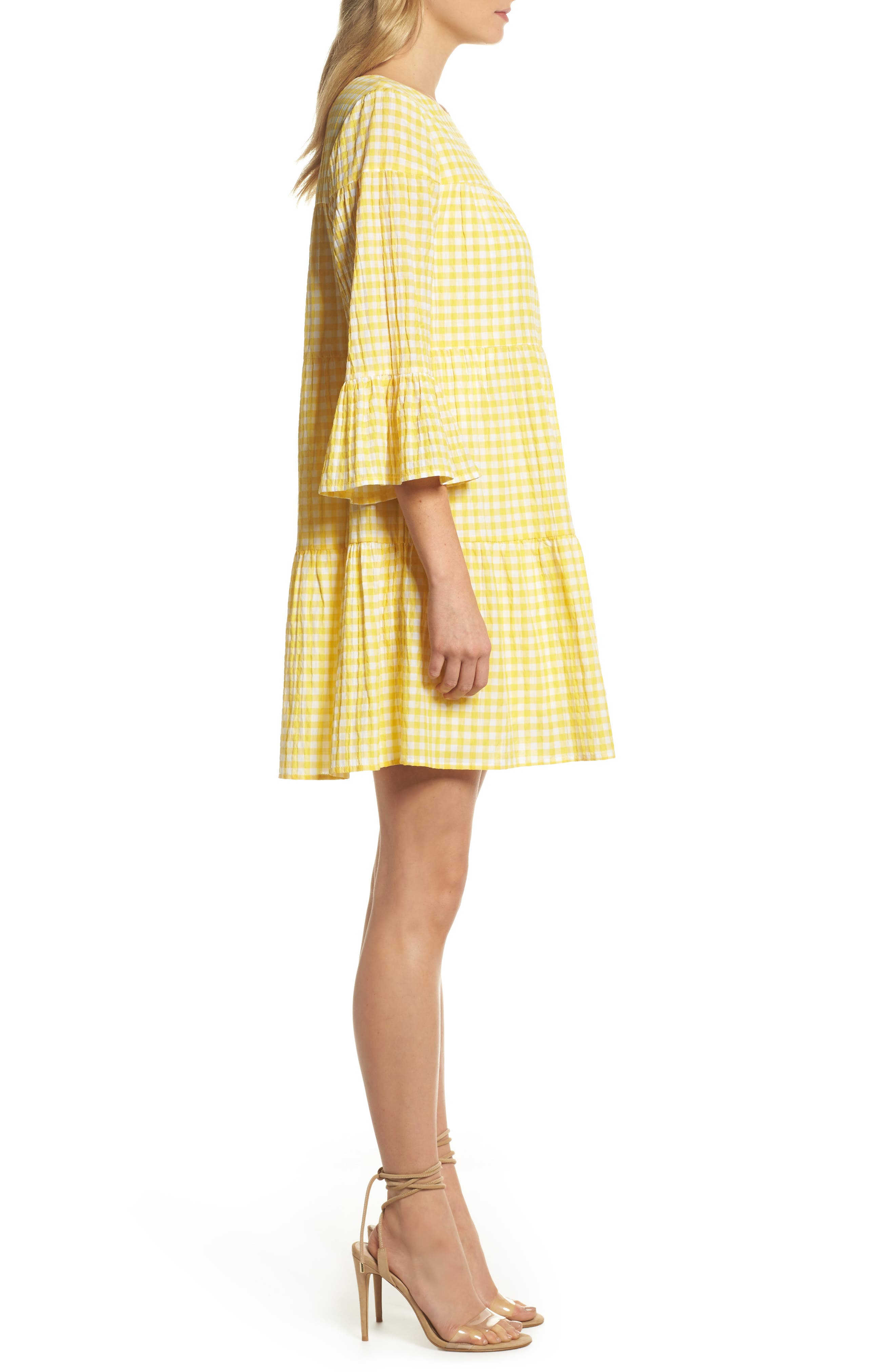 Gingham Swing Dress,                             Alternate thumbnail 3, color,                             740