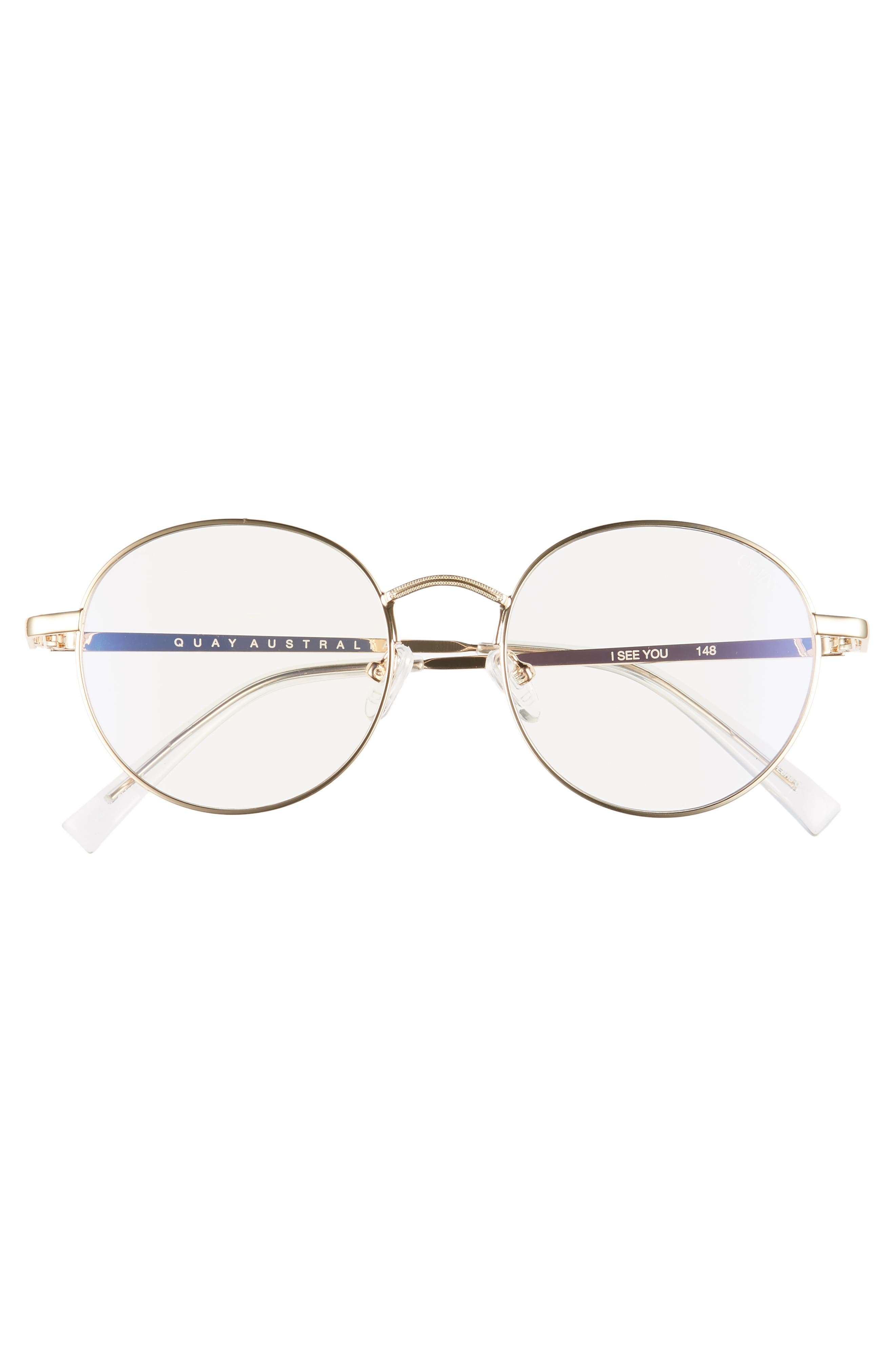 I See You 49mm Round Fashion Glasses,                             Alternate thumbnail 3, color,                             GOLD/ CLEAR