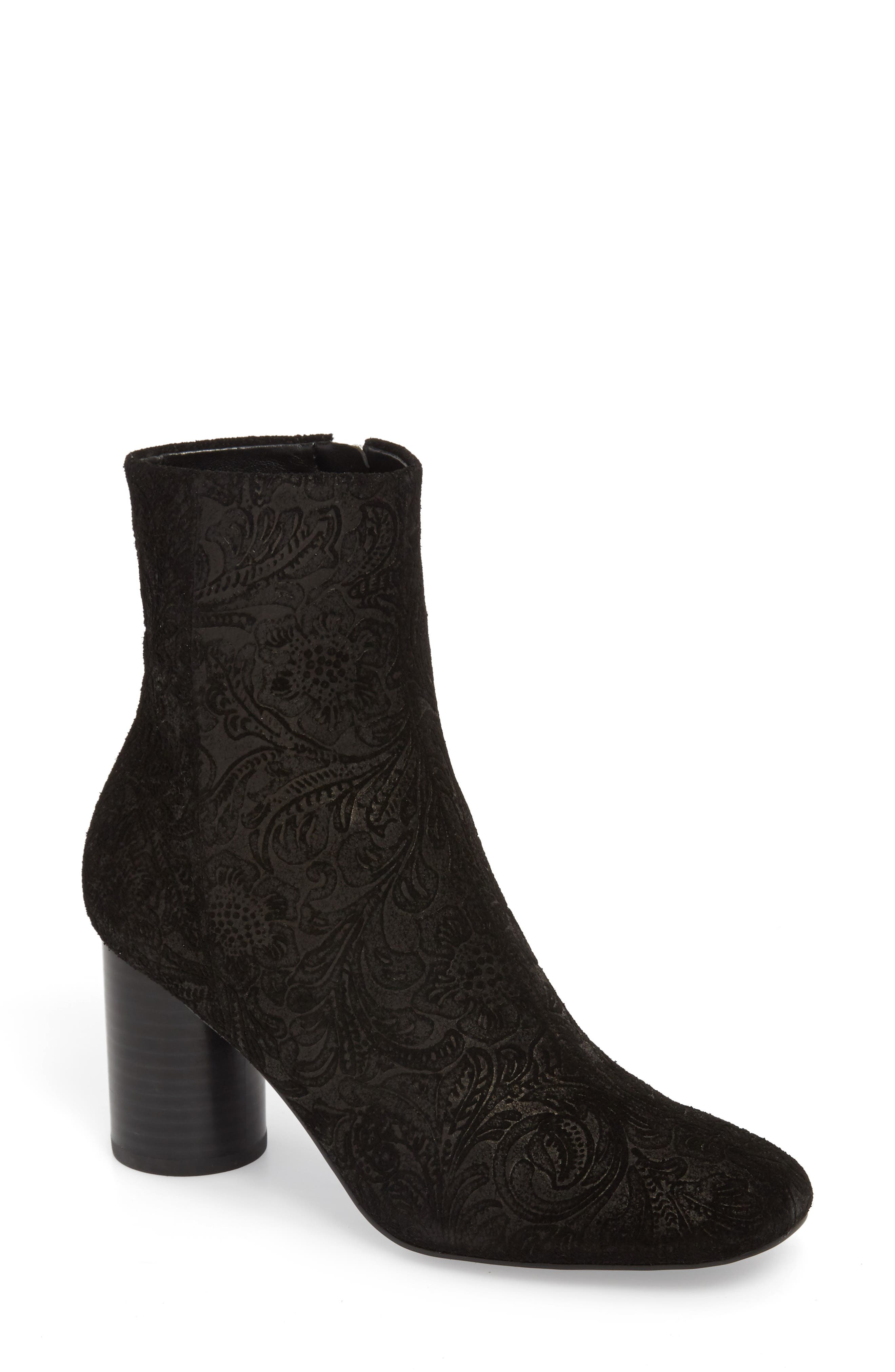 Galella Bootie,                             Main thumbnail 1, color,                             BLACK STAMPED BROCADE LEATHER