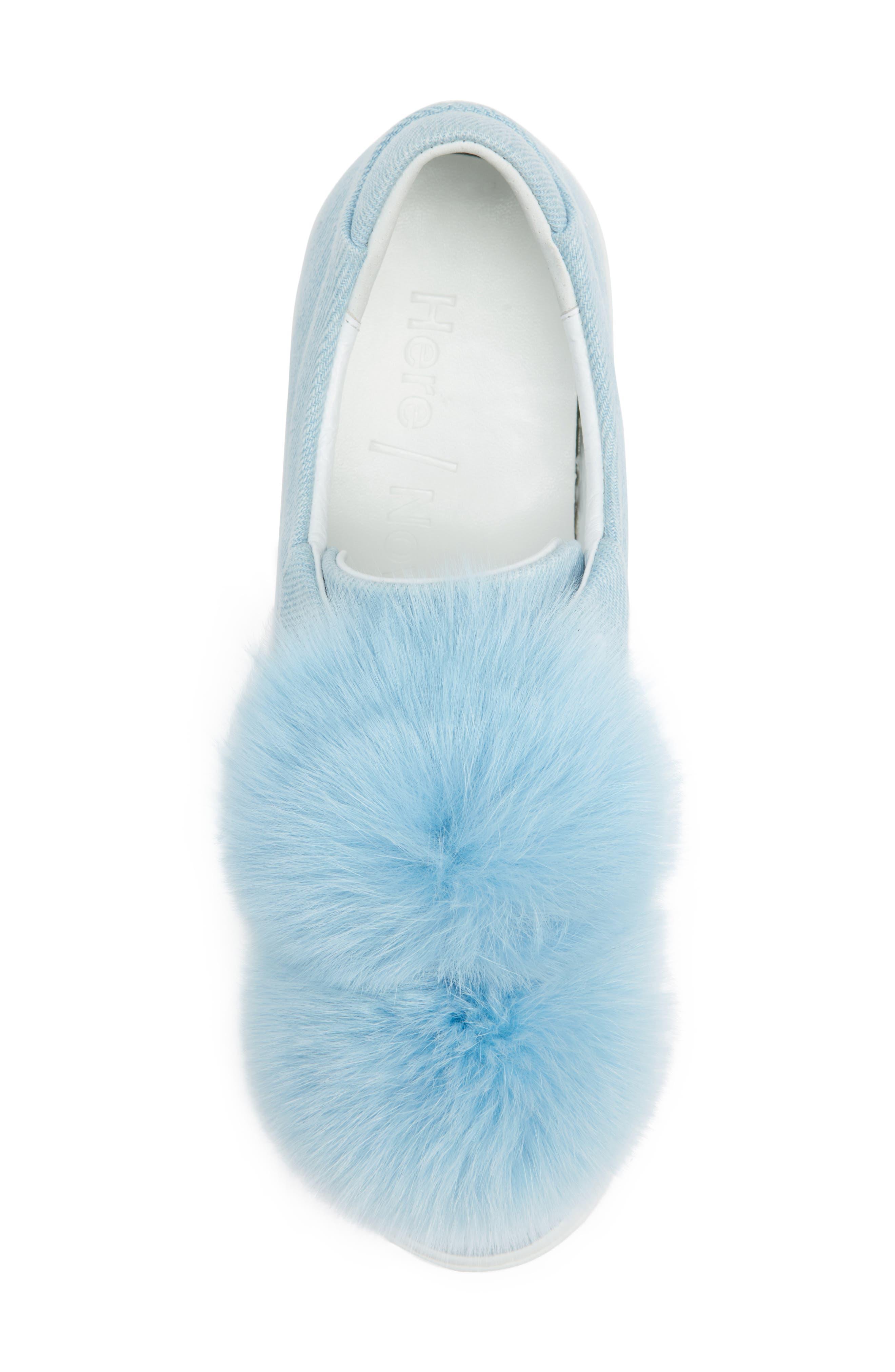 Stella Genuine Fox Fur Trim Platform Sneaker,                             Alternate thumbnail 5, color,                             400