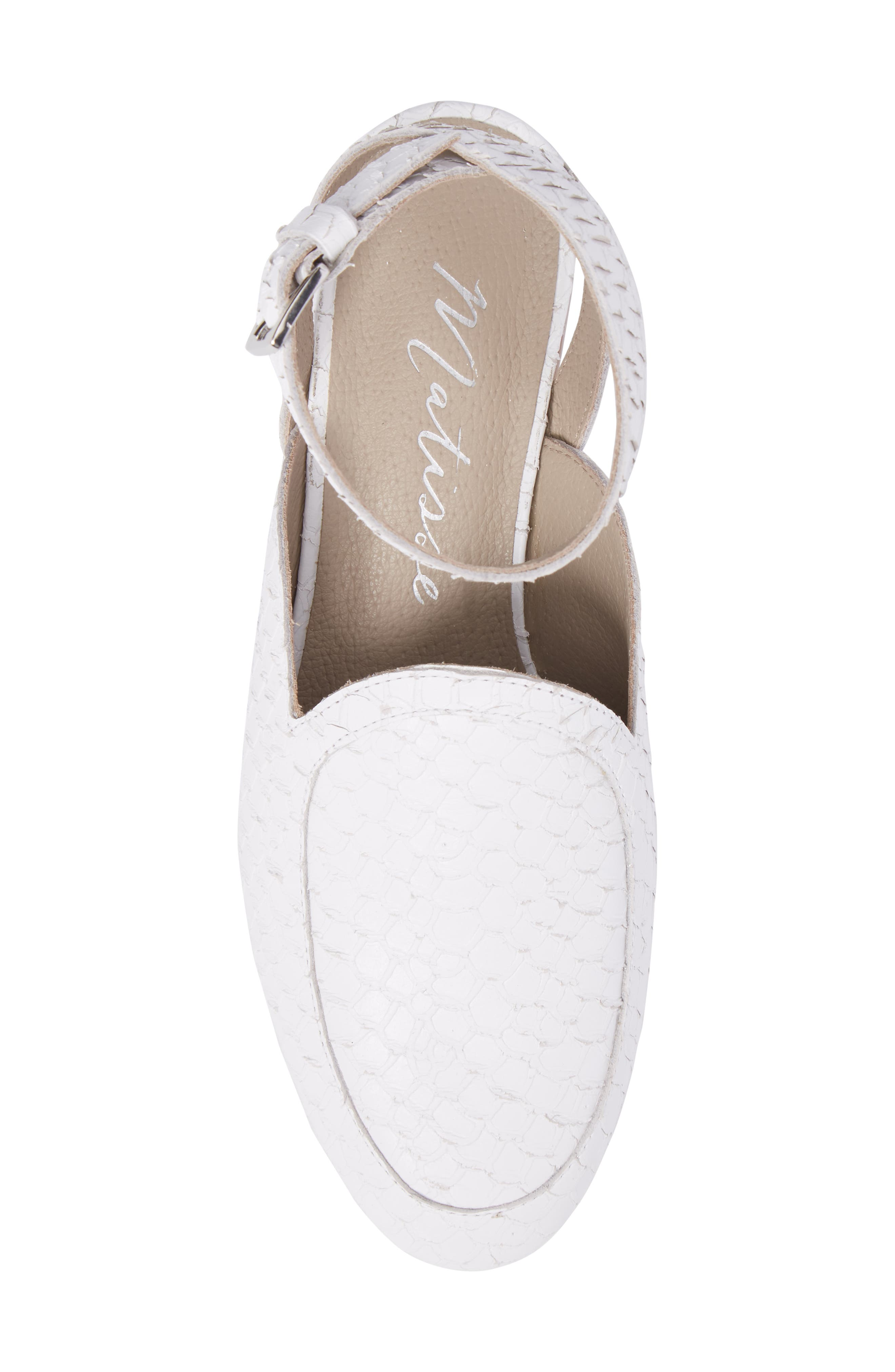 Half Moon Ankle Strap Loafer,                             Alternate thumbnail 5, color,                             WHITE LEATHER