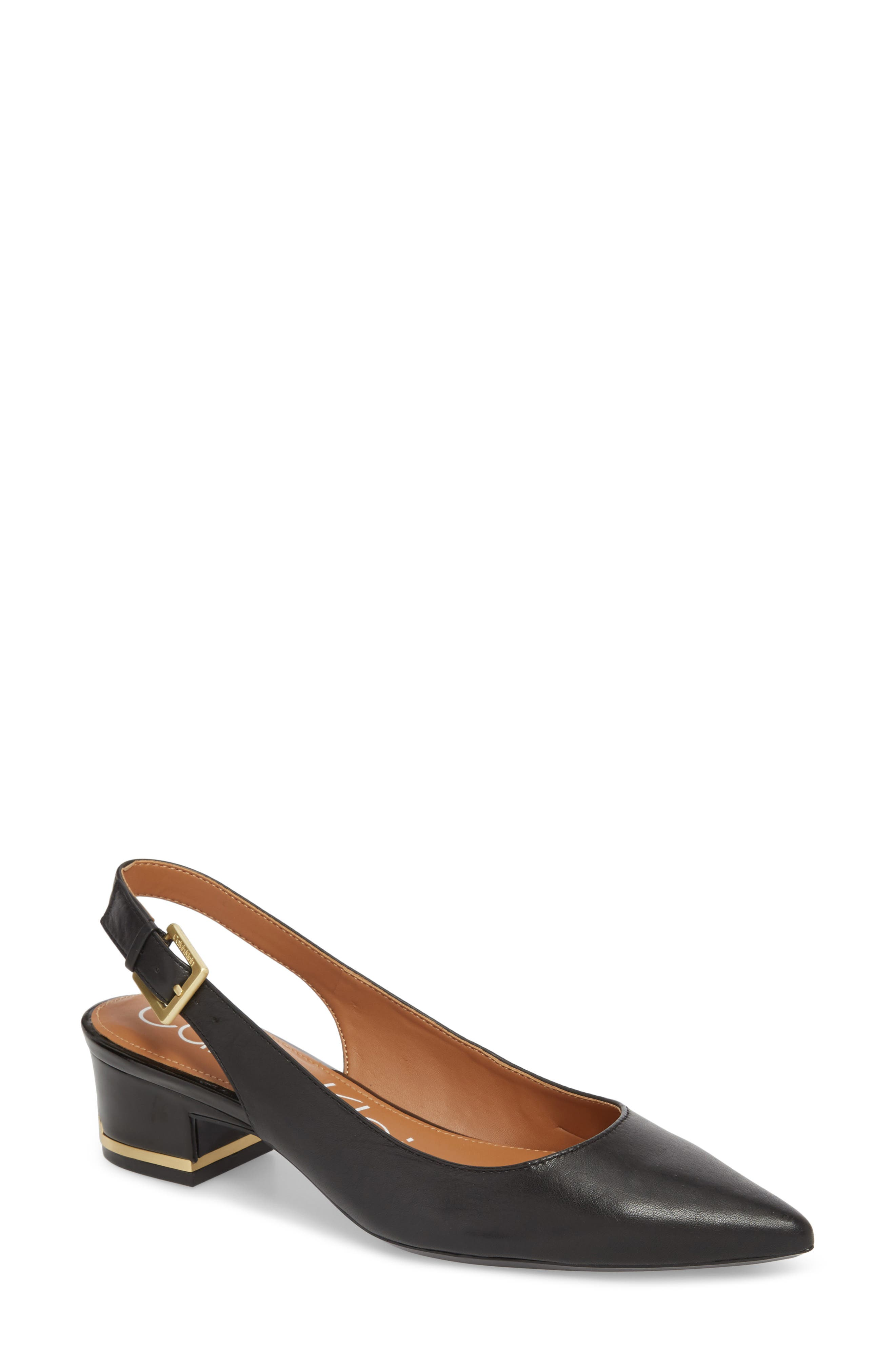 Glorianne Slingback Pointy Toe Pump,                             Main thumbnail 1, color,                             BLACK LEATHER