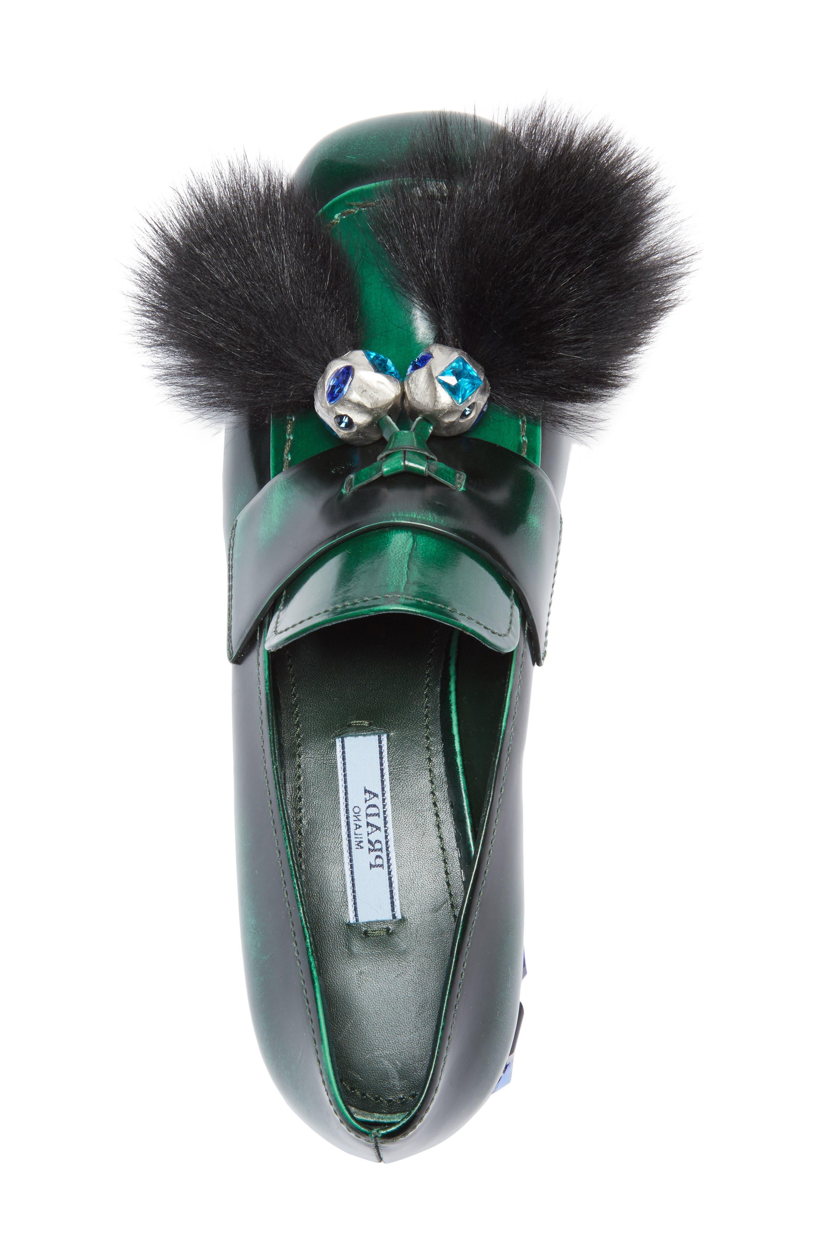 Genuine Shearling Tassel Loafer,                             Alternate thumbnail 4, color,                             300