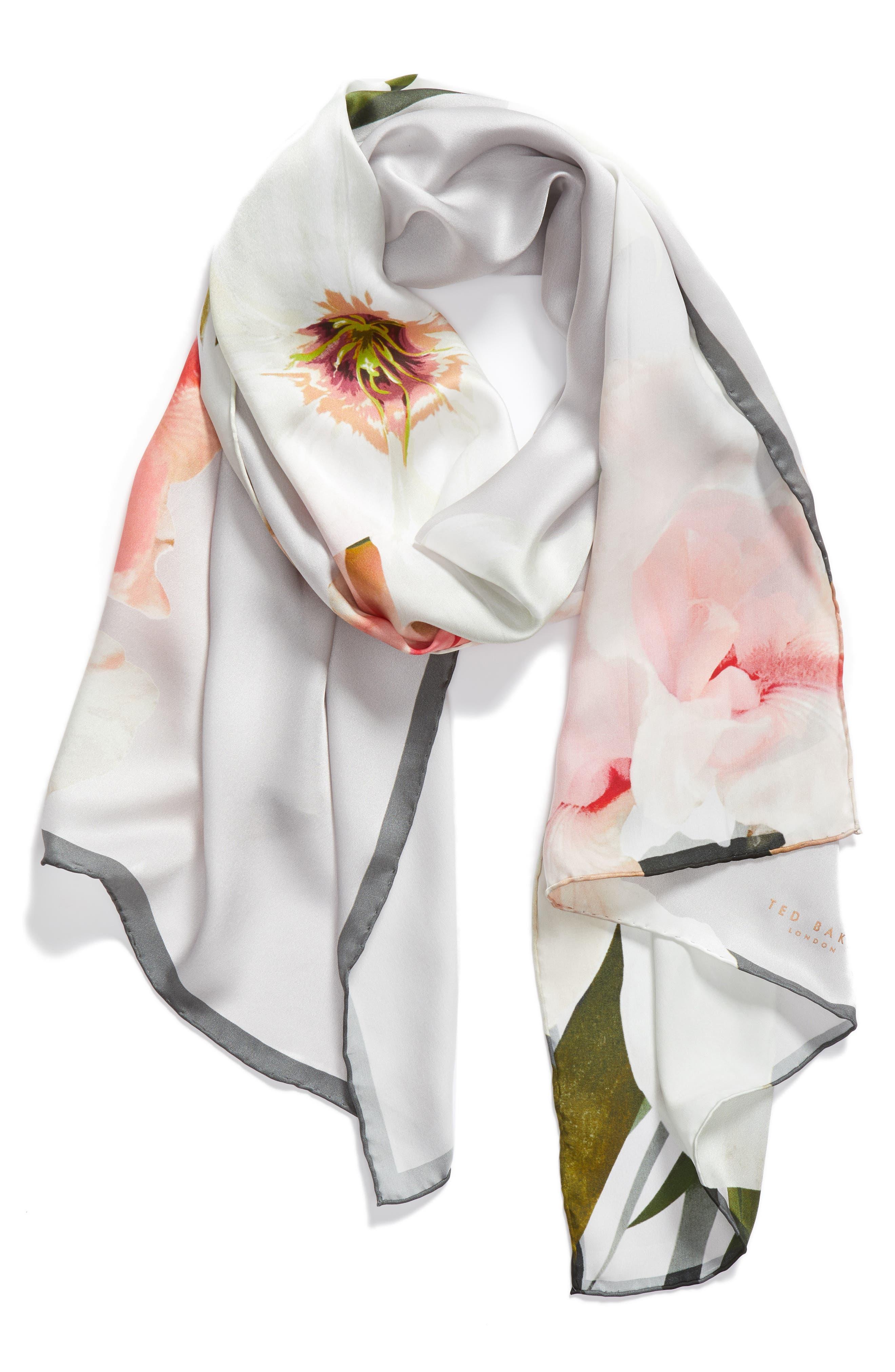 Chatsworth Blossom Silk Scarf,                             Alternate thumbnail 2, color,