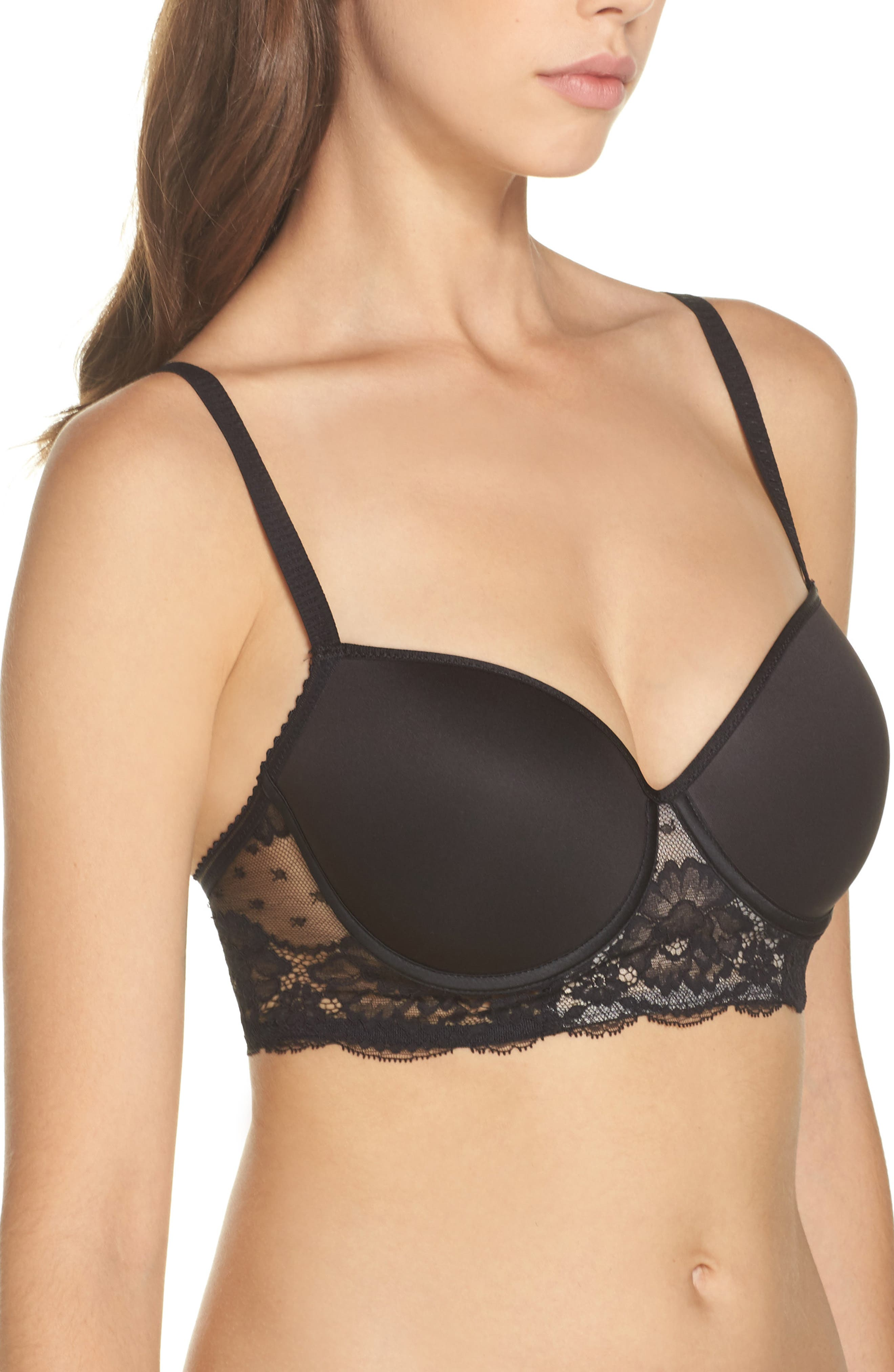 Underwire Eyelash Lace Bra,                             Alternate thumbnail 3, color,                             001