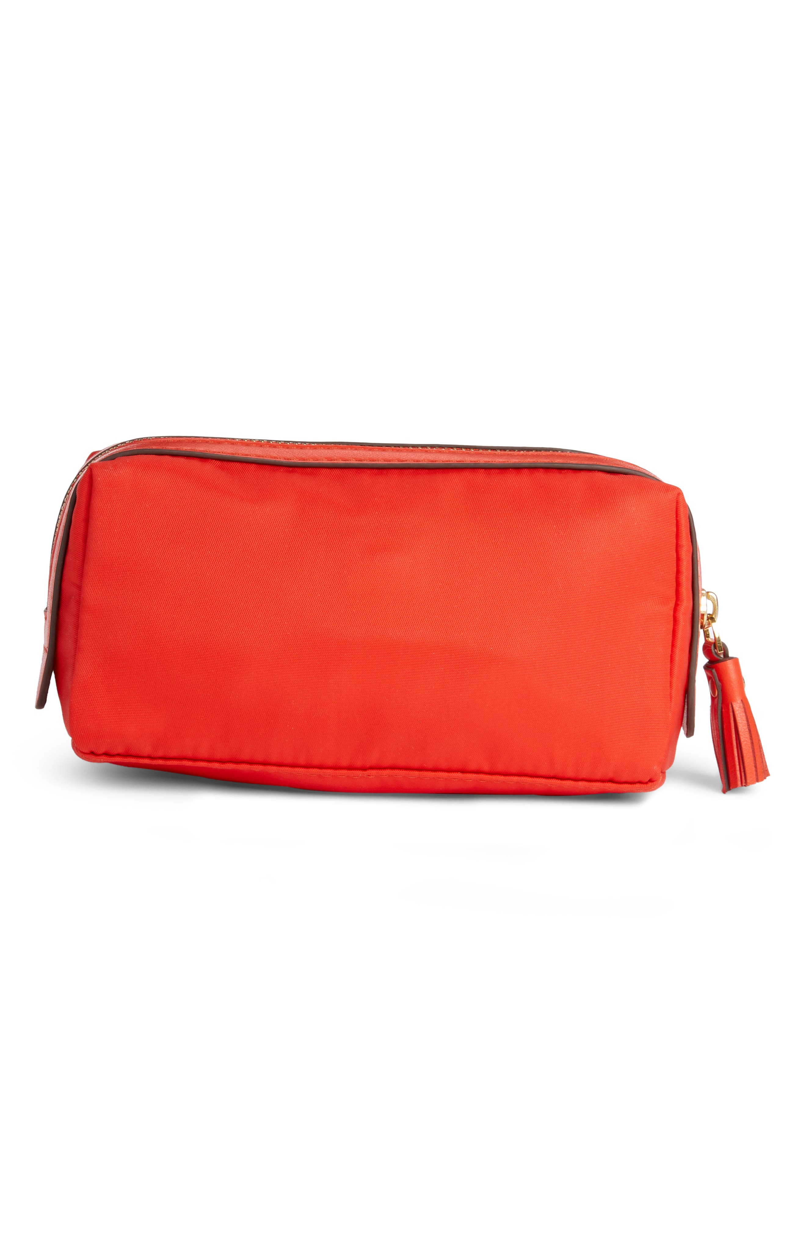 Girlie Stuff Cosmetics Case,                             Alternate thumbnail 2, color,                             FLAME RED