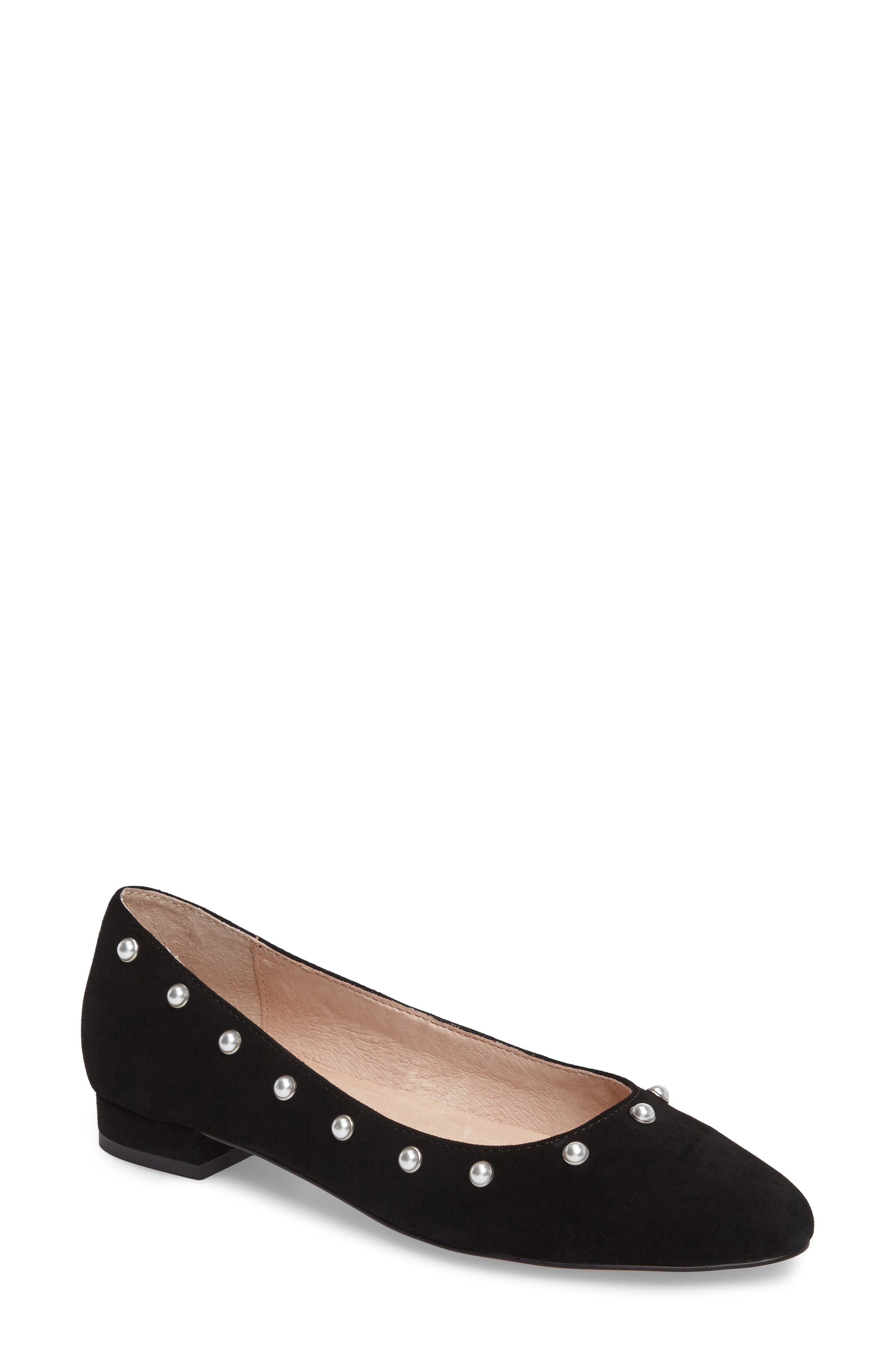 Amira Imitation Pearl Flat,                         Main,                         color, BLACK SUEDE