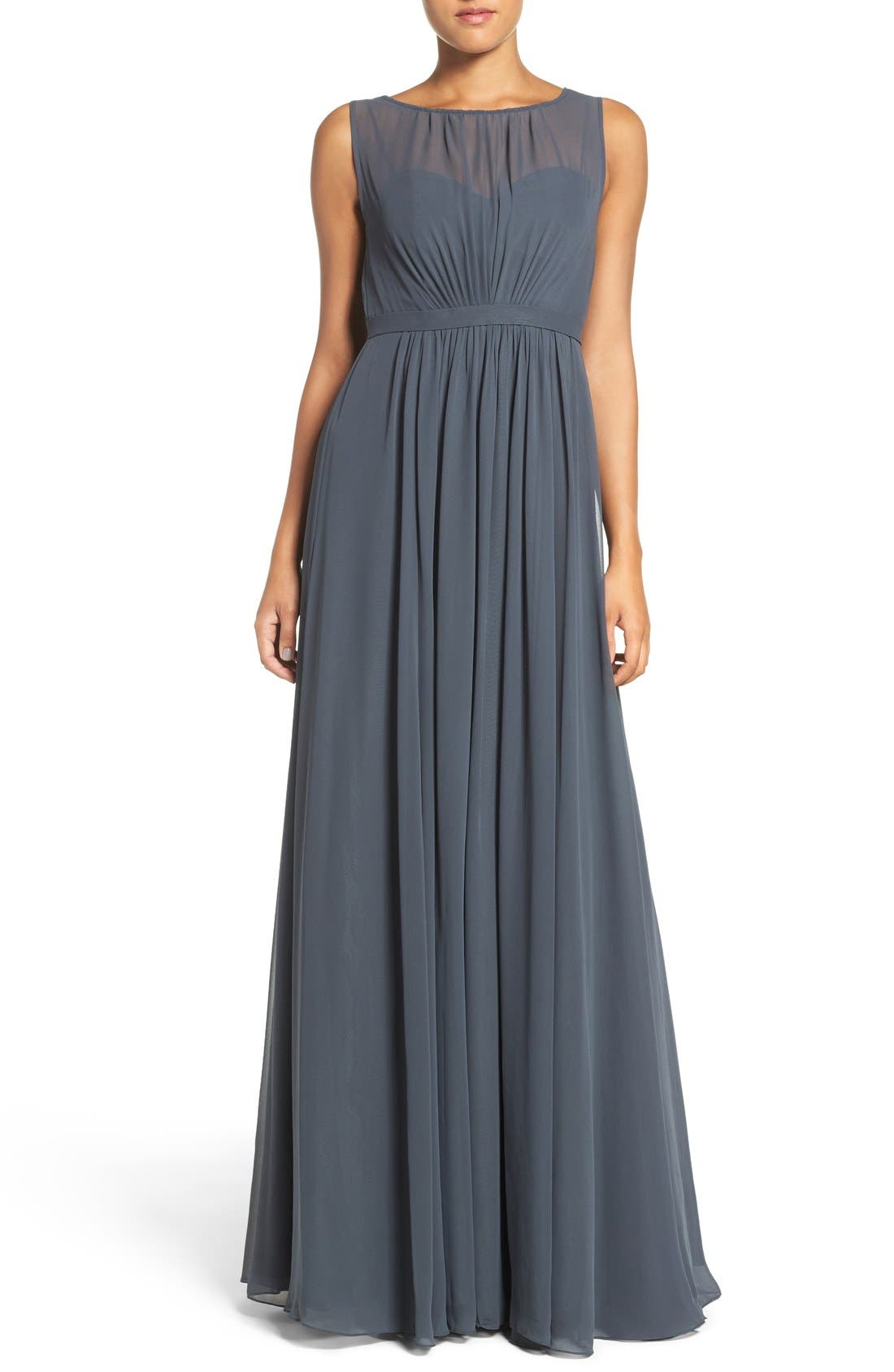 Vivienne Pleated Chiffon Gown,                             Main thumbnail 3, color,