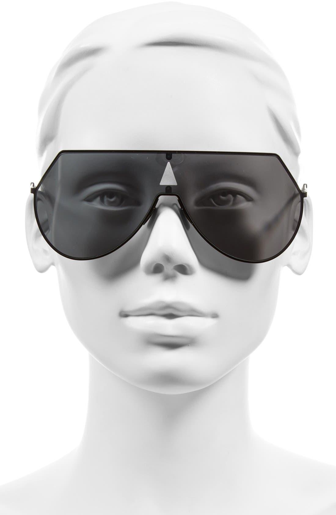99mm Eyeline Aviator Sunglasses,                             Alternate thumbnail 4, color,                             MATTE BLACK