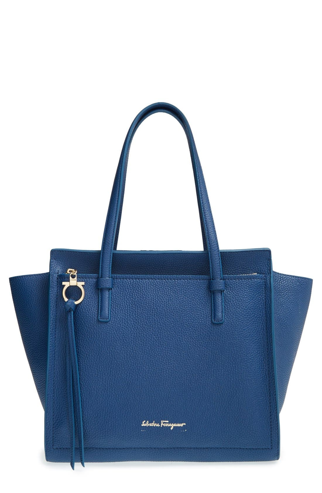 'Small Amy' Calfskin Leather Tote, Main, color, 400