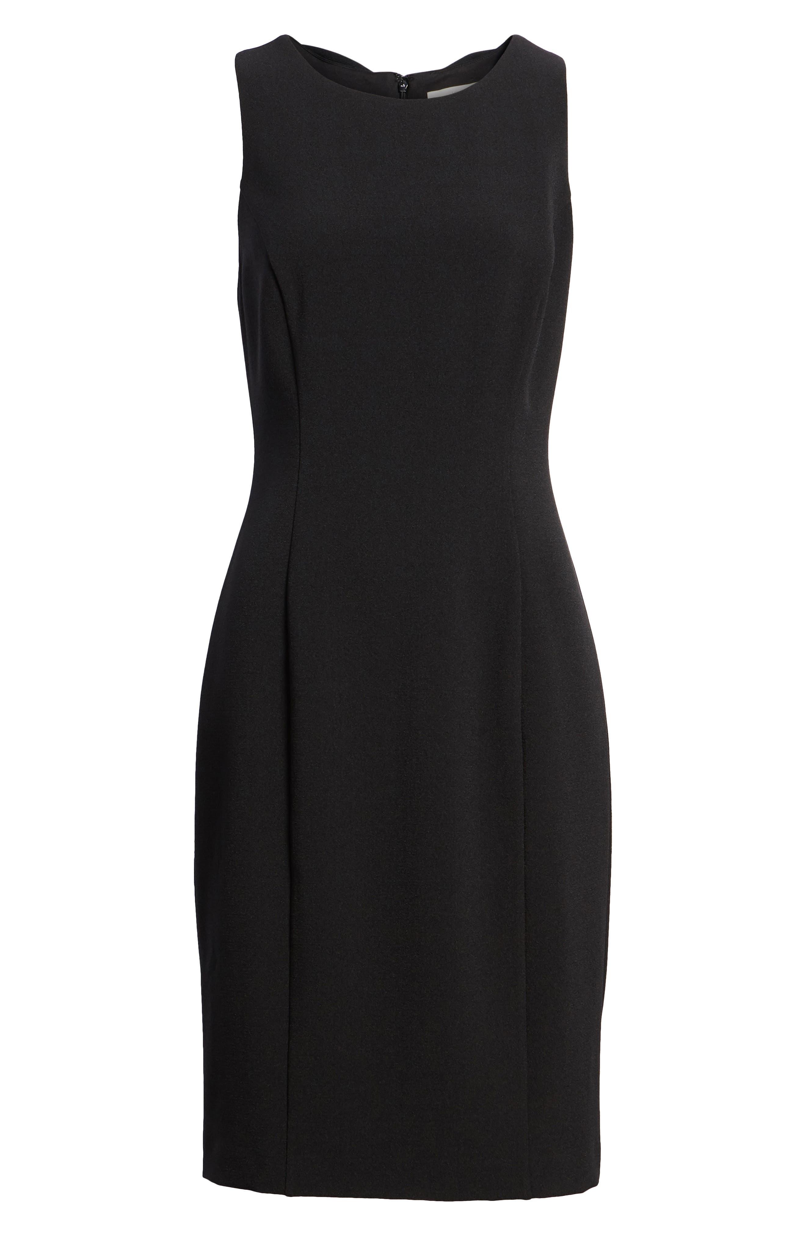 Bow Back Sheath Dress,                             Alternate thumbnail 7, color,                             001