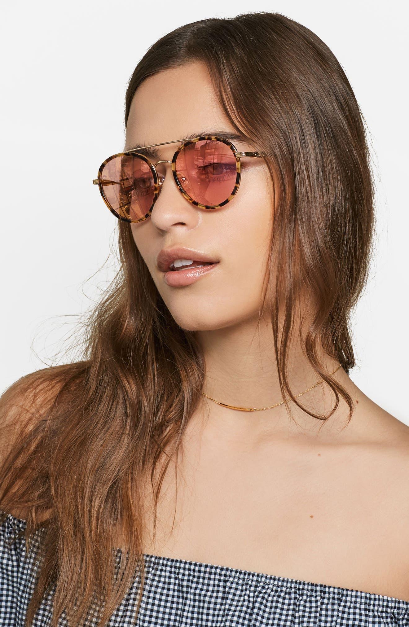 Charli 50mm Mirrored Lens Round Sunglasses,                             Alternate thumbnail 12, color,