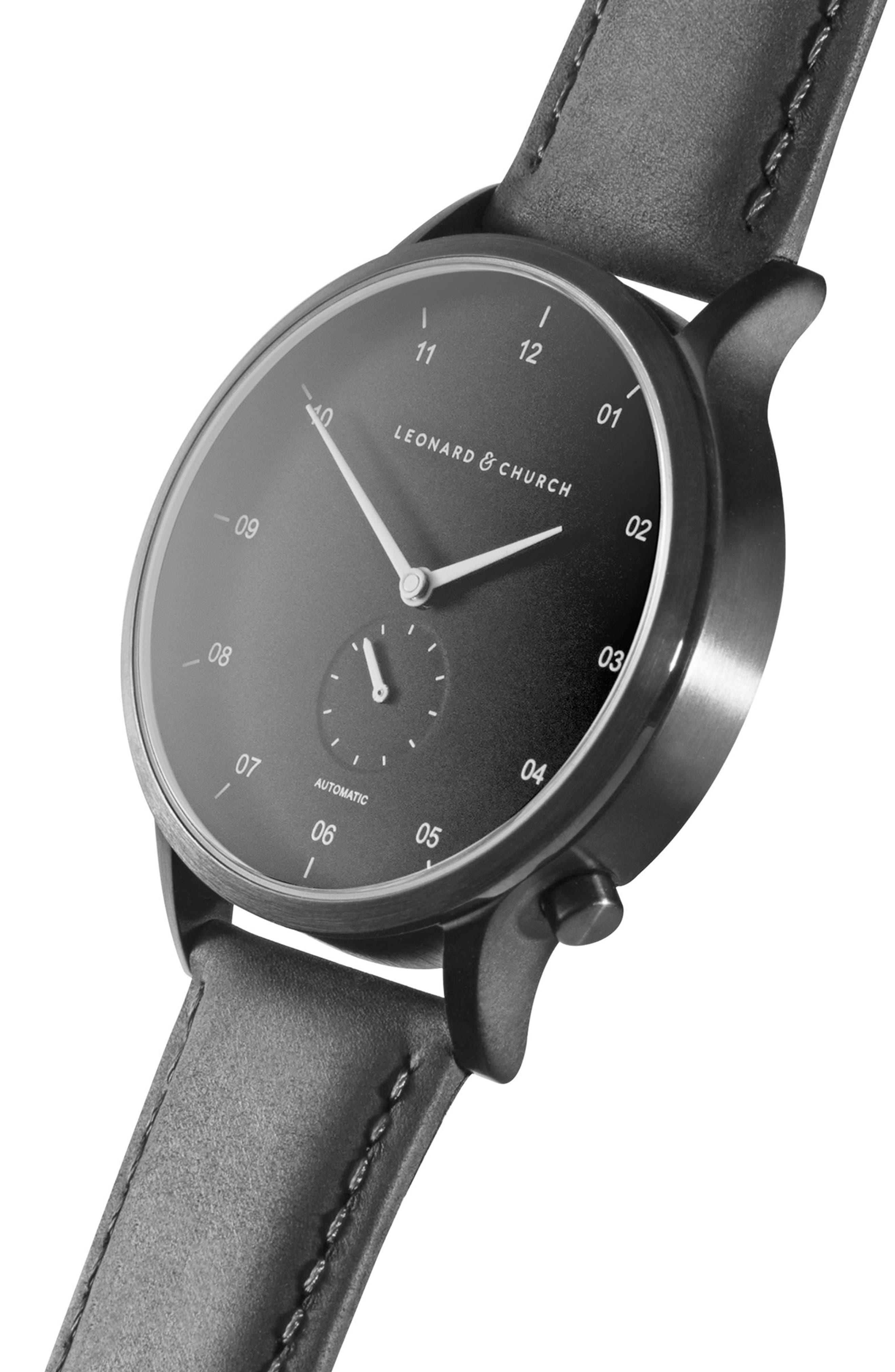 Leonard & Church Sullivan Automatic Suede Strap Watch, 39mm,                             Alternate thumbnail 4, color,                             BLACK