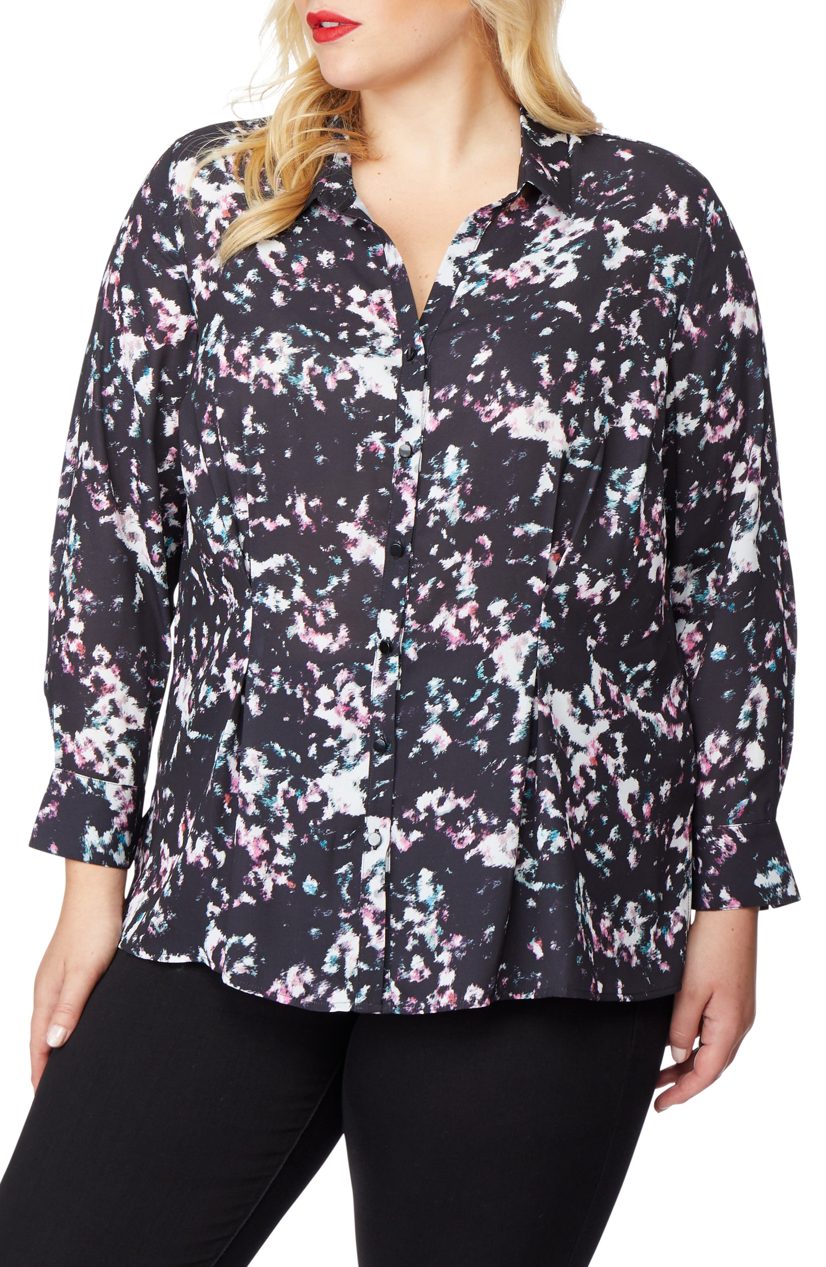 REBEL WILSON X ANGELS,                             Print Blouse,                             Alternate thumbnail 3, color,                             001