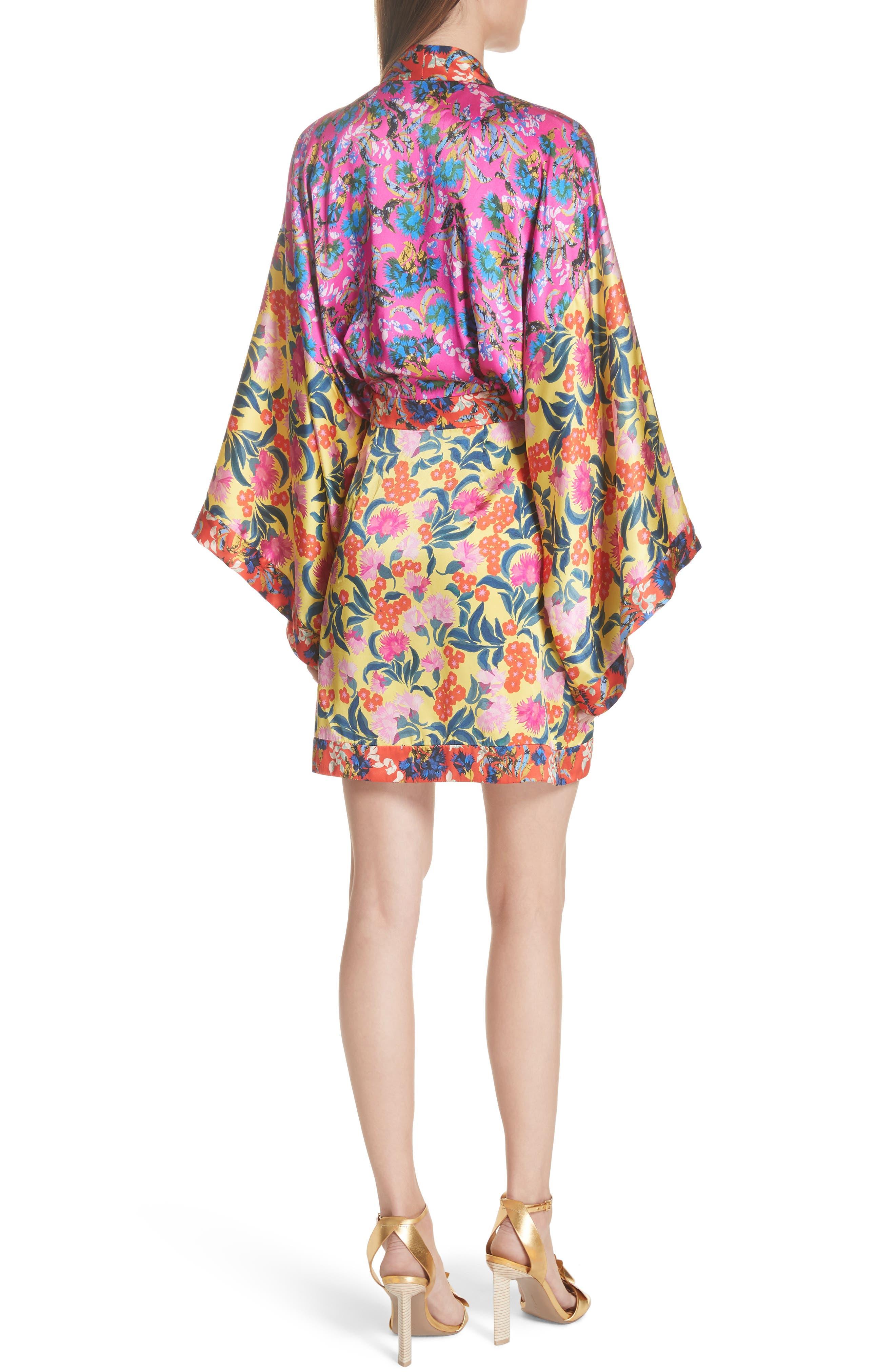 Suki Mixed Floral Silk Wrap Dress,                             Alternate thumbnail 2, color,                             YELLOW AZALEA