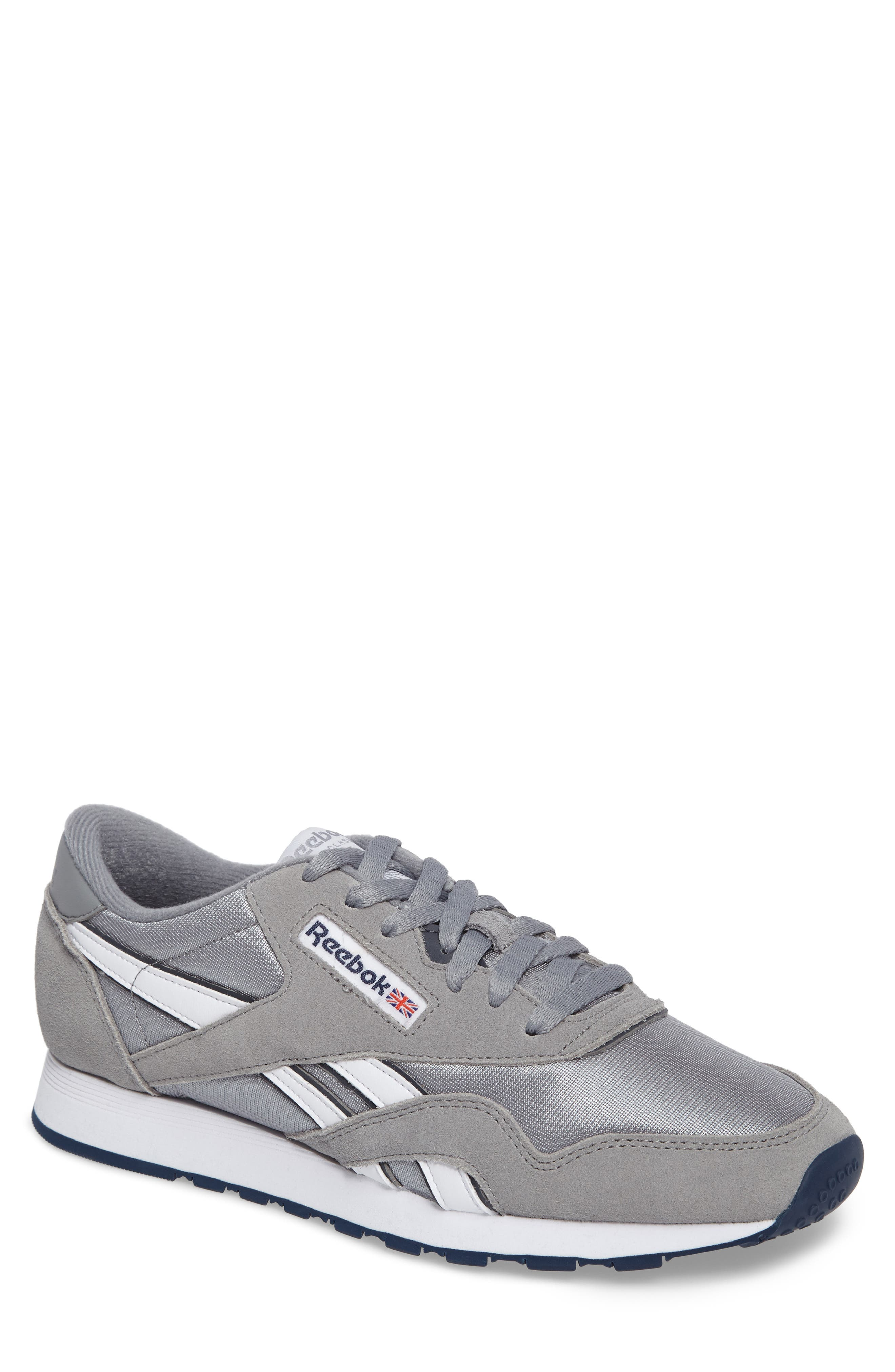 Classic Nylon Sneaker,                         Main,                         color, PLATINUM/ JET BLUE