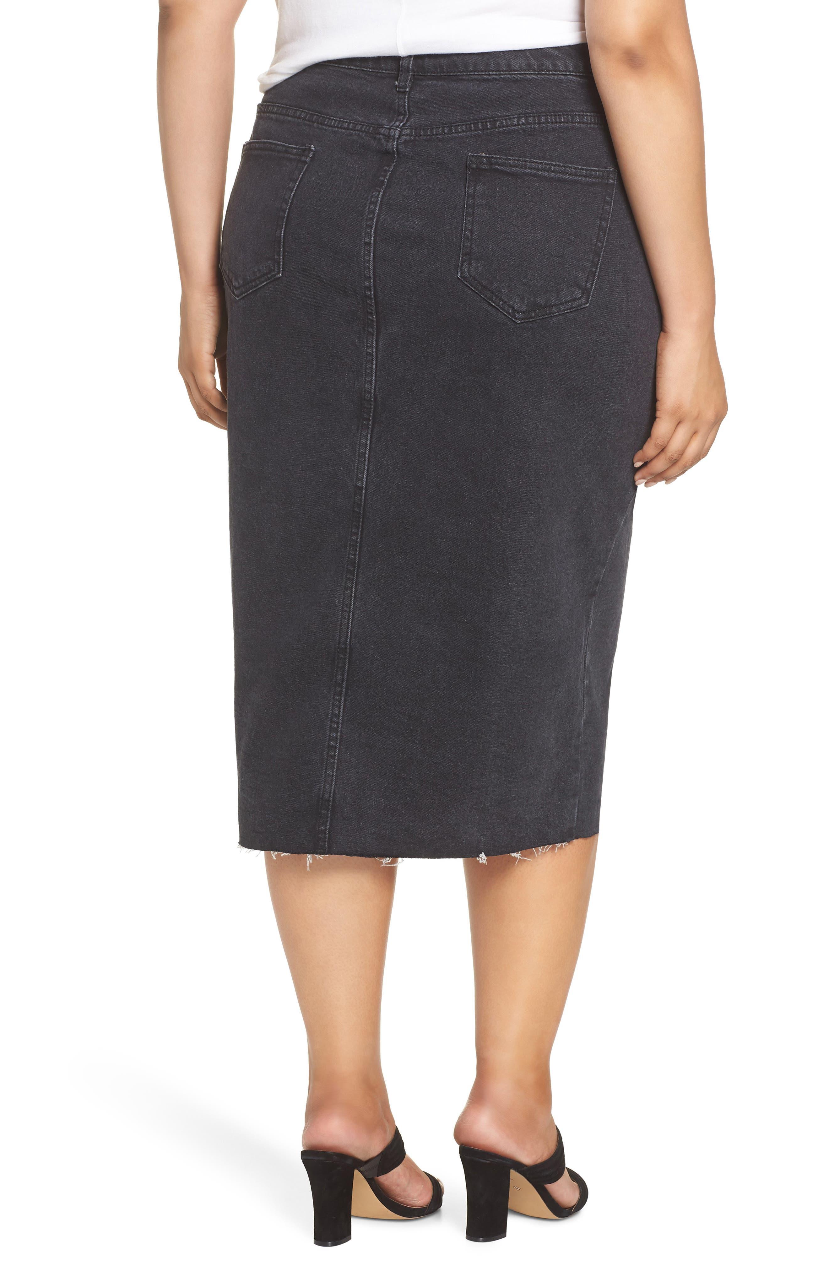 Denim Pencil Skirt,                             Alternate thumbnail 2, color,                             001