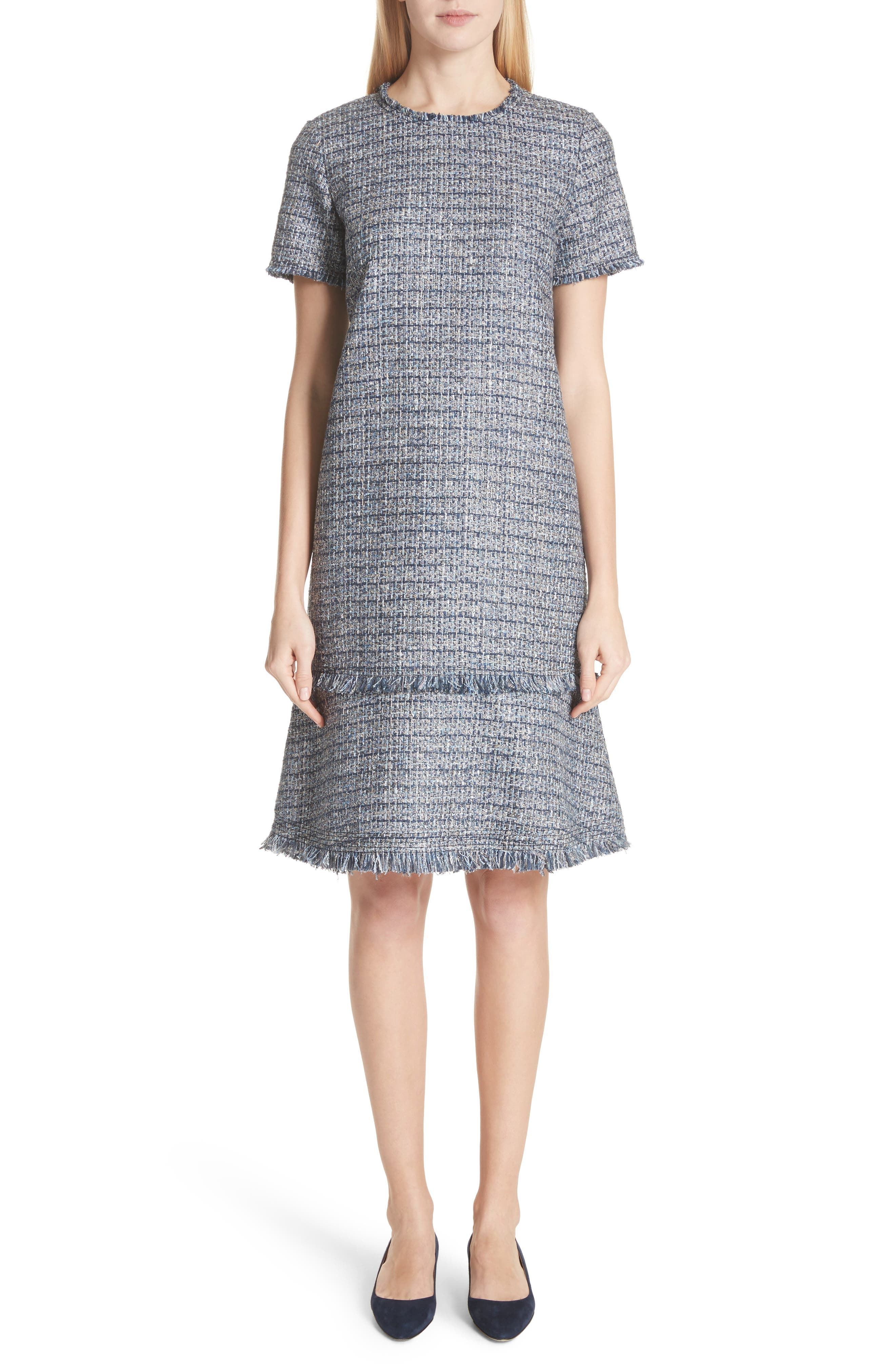 Saria Tweed Drop Waist Dress,                             Main thumbnail 1, color,