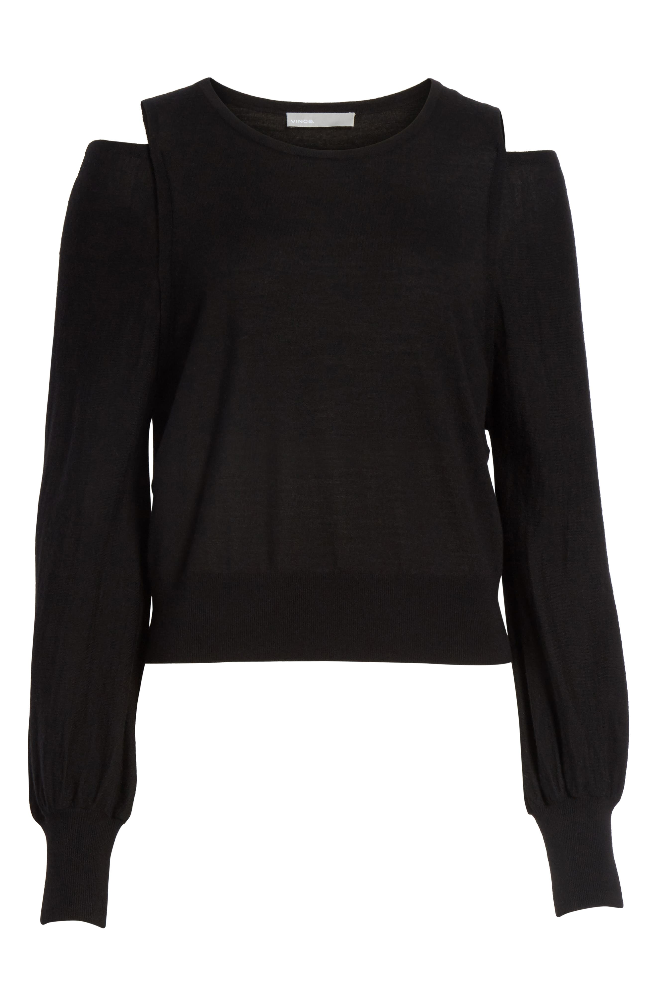 Wool Cold Shoulder Sweater,                             Alternate thumbnail 6, color,                             001
