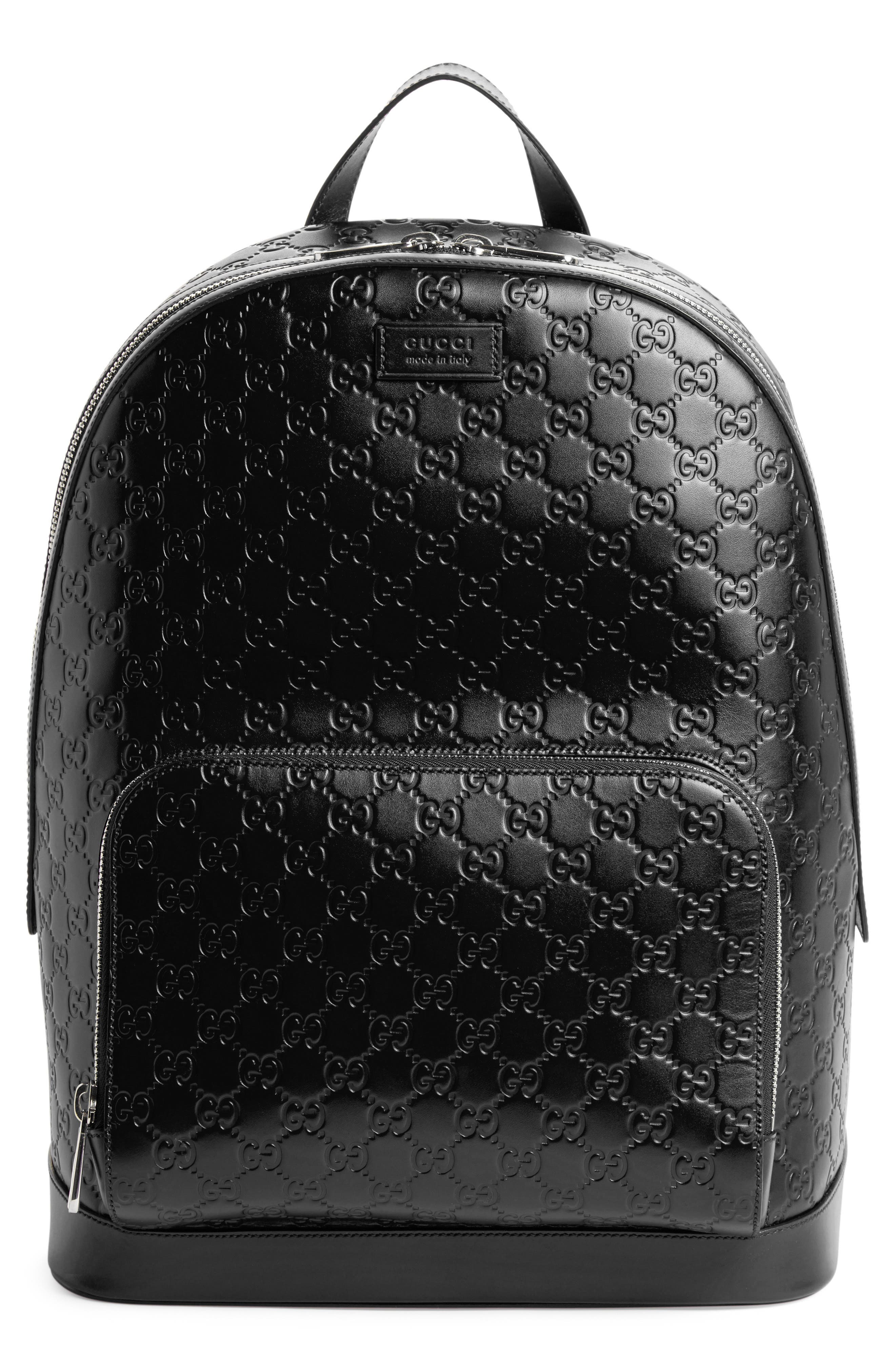Embossed Leather Backpack,                             Main thumbnail 1, color,                             BLACK