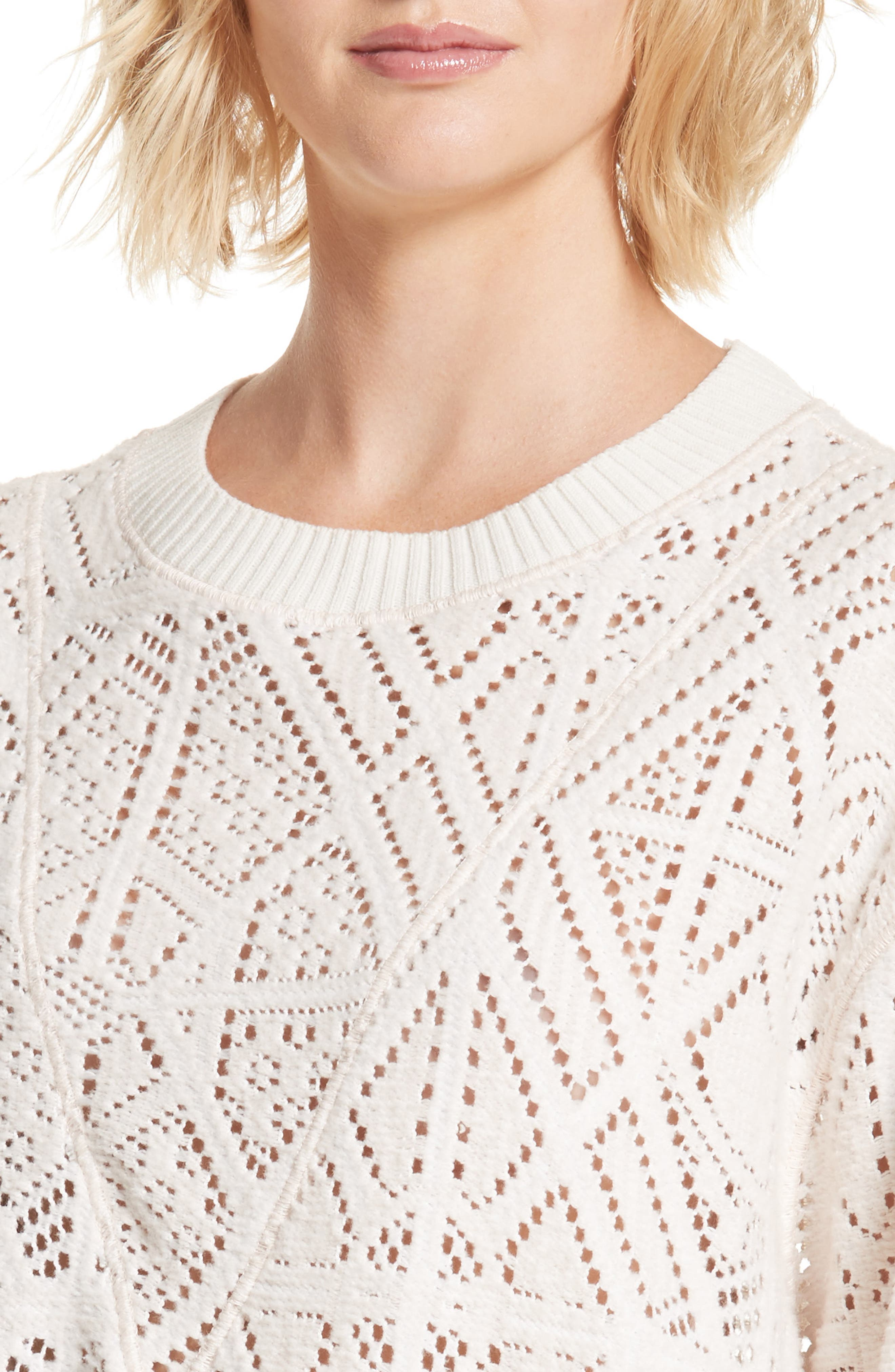 Lace Knit Sweater,                             Alternate thumbnail 4, color,                             901