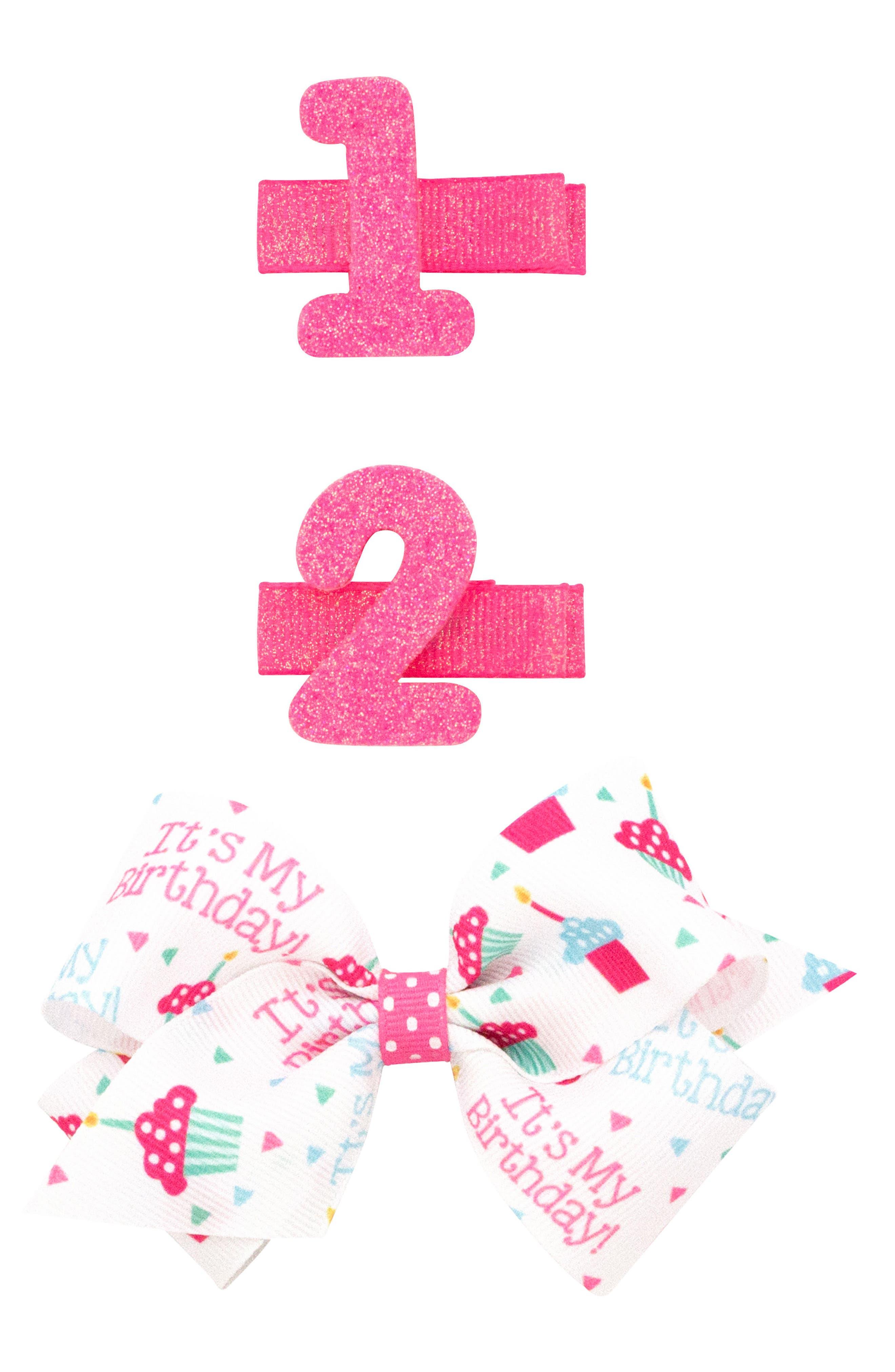 3-Pack Birthday Hair Clips,                             Main thumbnail 1, color,                             HOT PINK