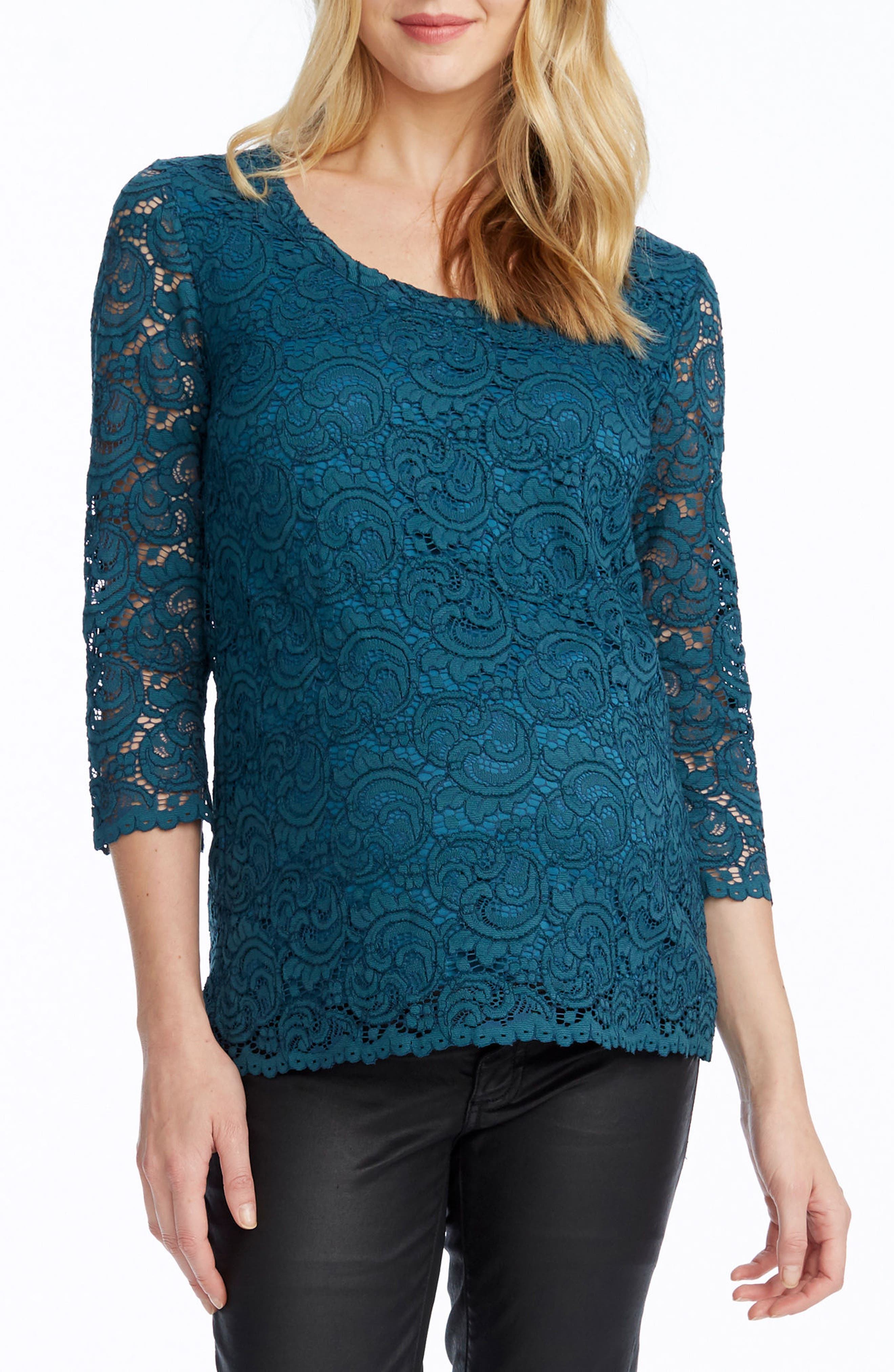 Becca Lace Maternity Top,                         Main,                         color, EMERALD