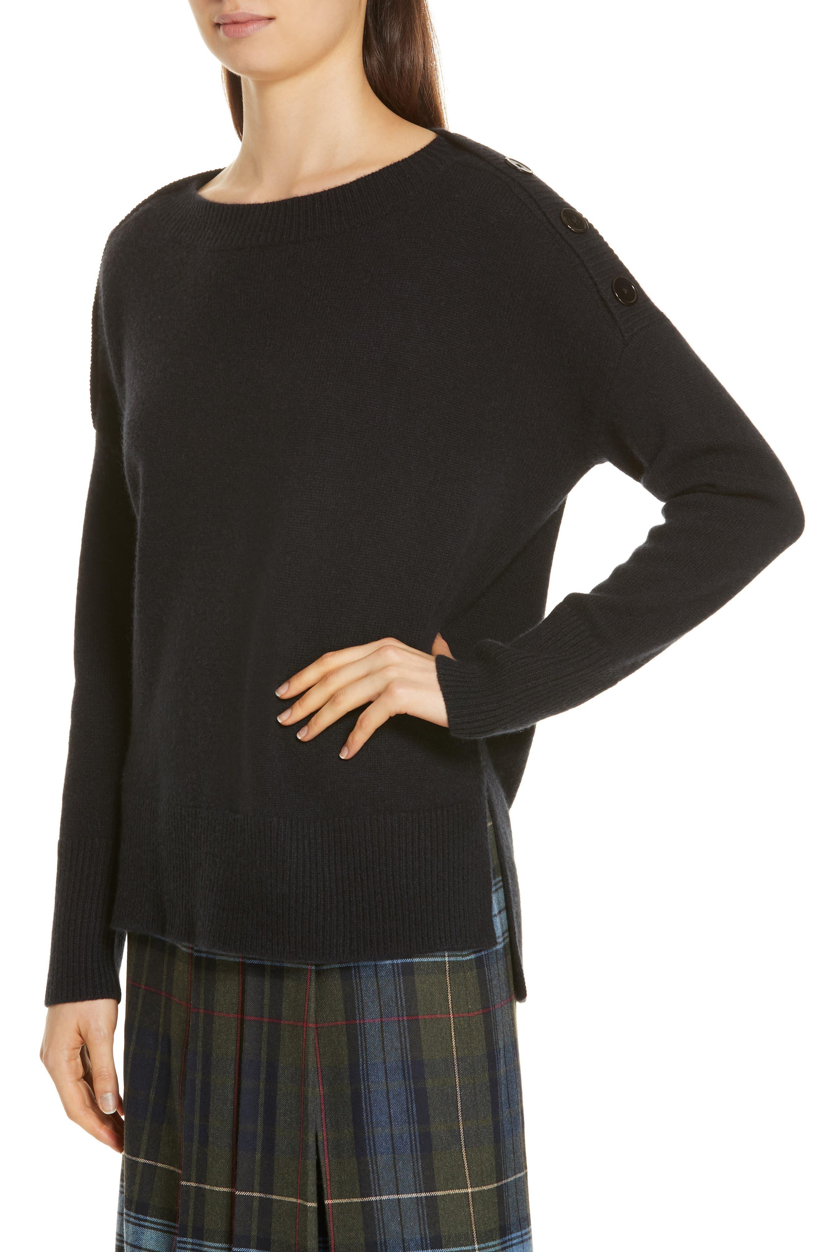 Button Shoulder Cashmere Sweater,                             Alternate thumbnail 4, color,                             BLACK