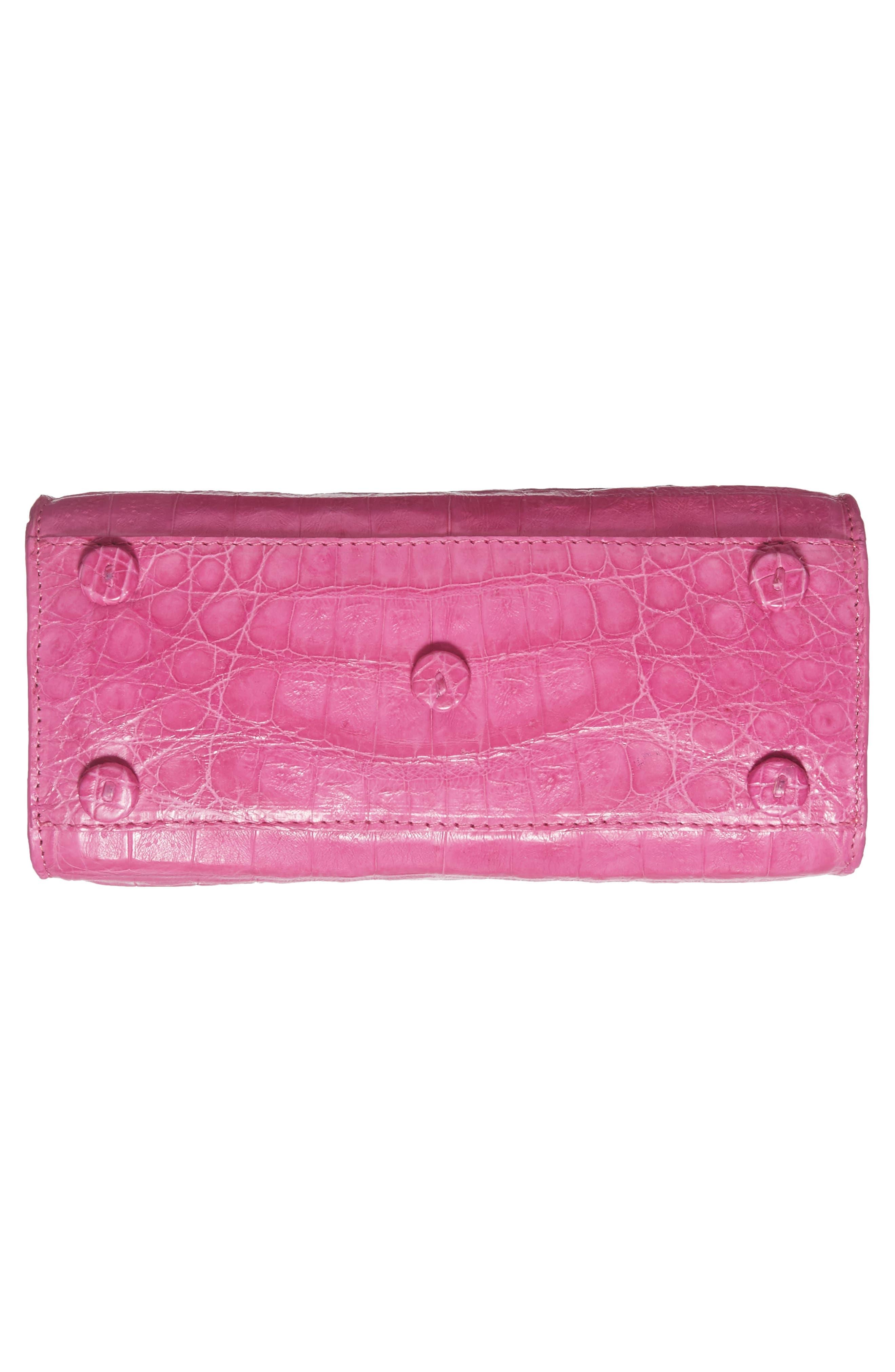 Mini Lily Genuine Crocodile Crossbody Bag,                             Alternate thumbnail 6, color,                             PINK MATTE