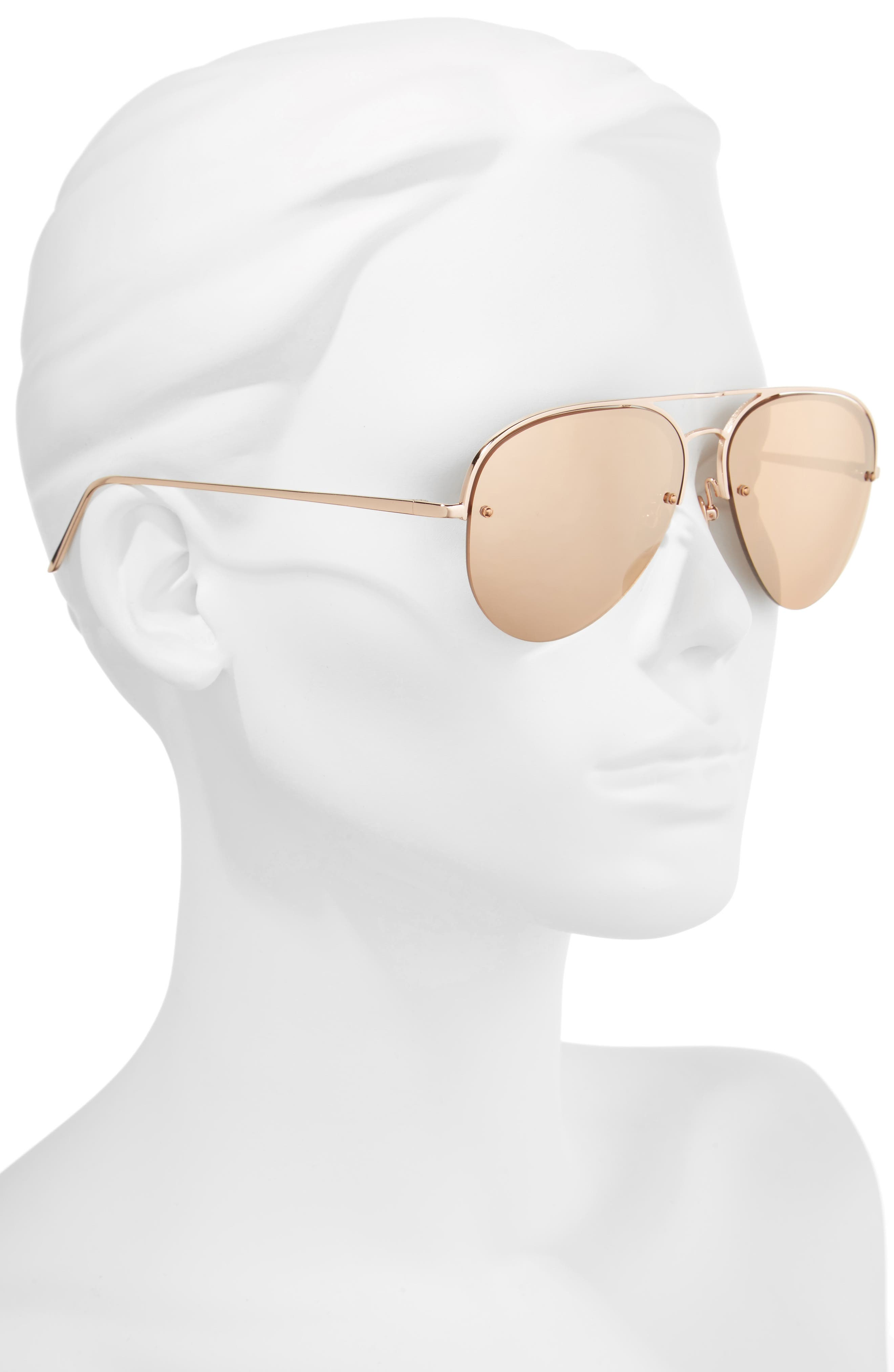 60mm Mirrored 18 Karat Gold Aviator Sunglasses,                             Alternate thumbnail 2, color,                             ROSE GOLD