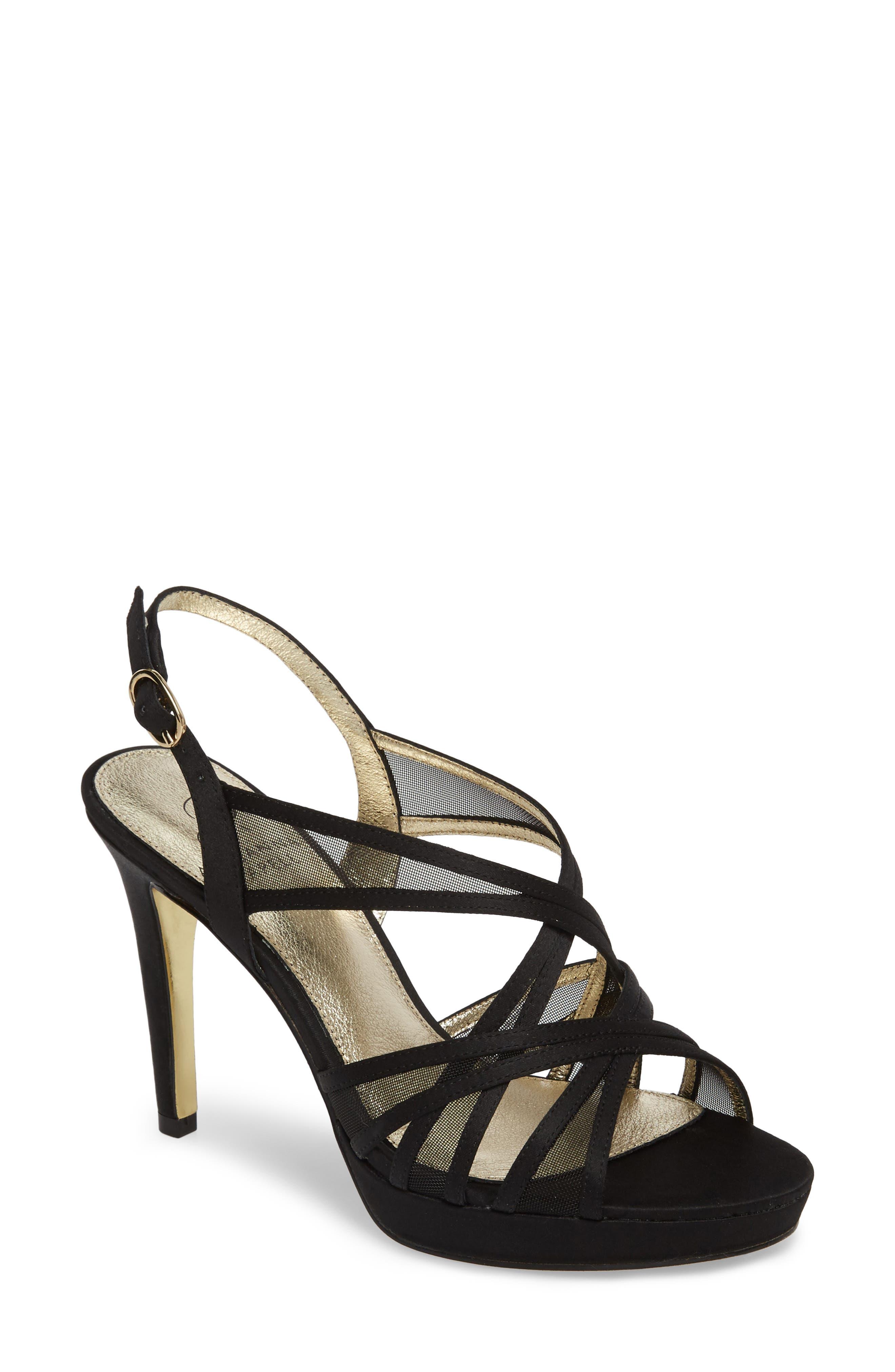 Adri Platform Sandal,                         Main,                         color, BLACK SATIN
